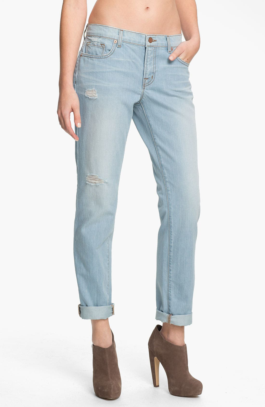 Alternate Image 1 Selected - J Brand 'Aidan' Distressed Boyfriend Fit Jeans (Illusion Destruct)