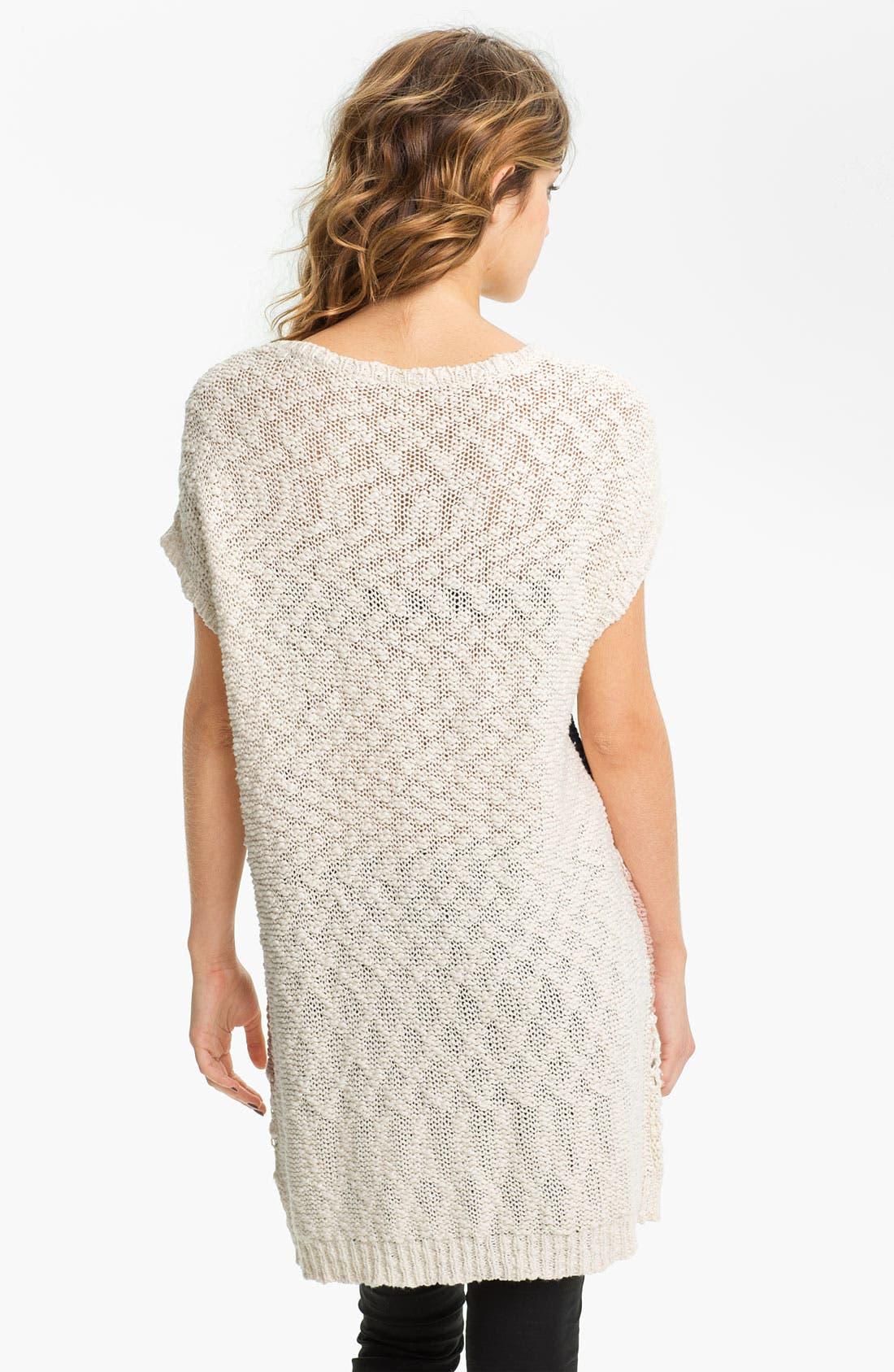 Alternate Image 2  - Love by Design Zigzag Crochet Tunic Sweater (Juniors)