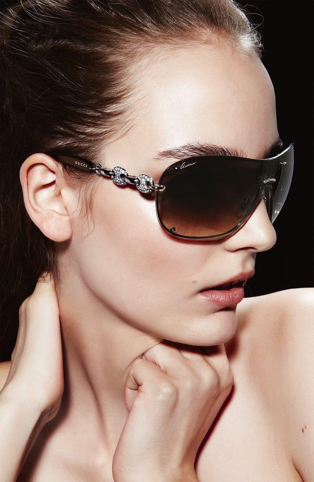 Alternate Image 2  - Gucci 99mm Rimless Shield Sunglasses