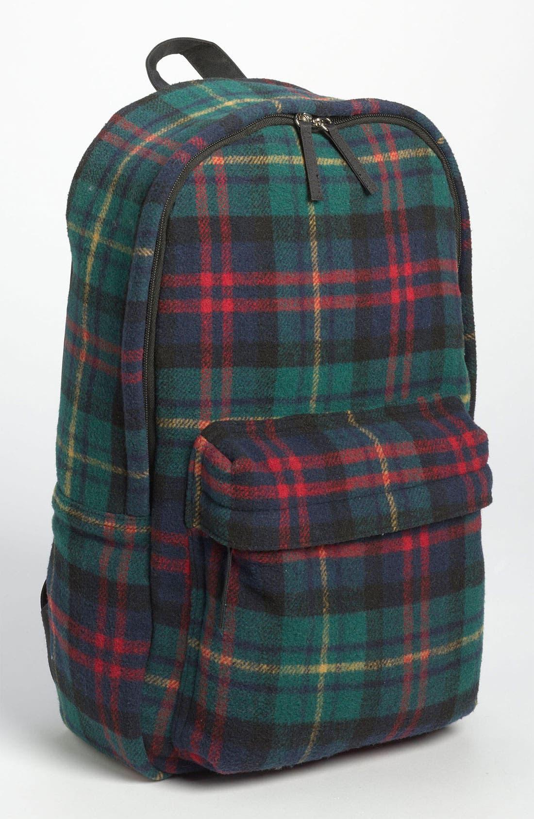 Main Image - Topman Scottish Plaid Flannel Backpack