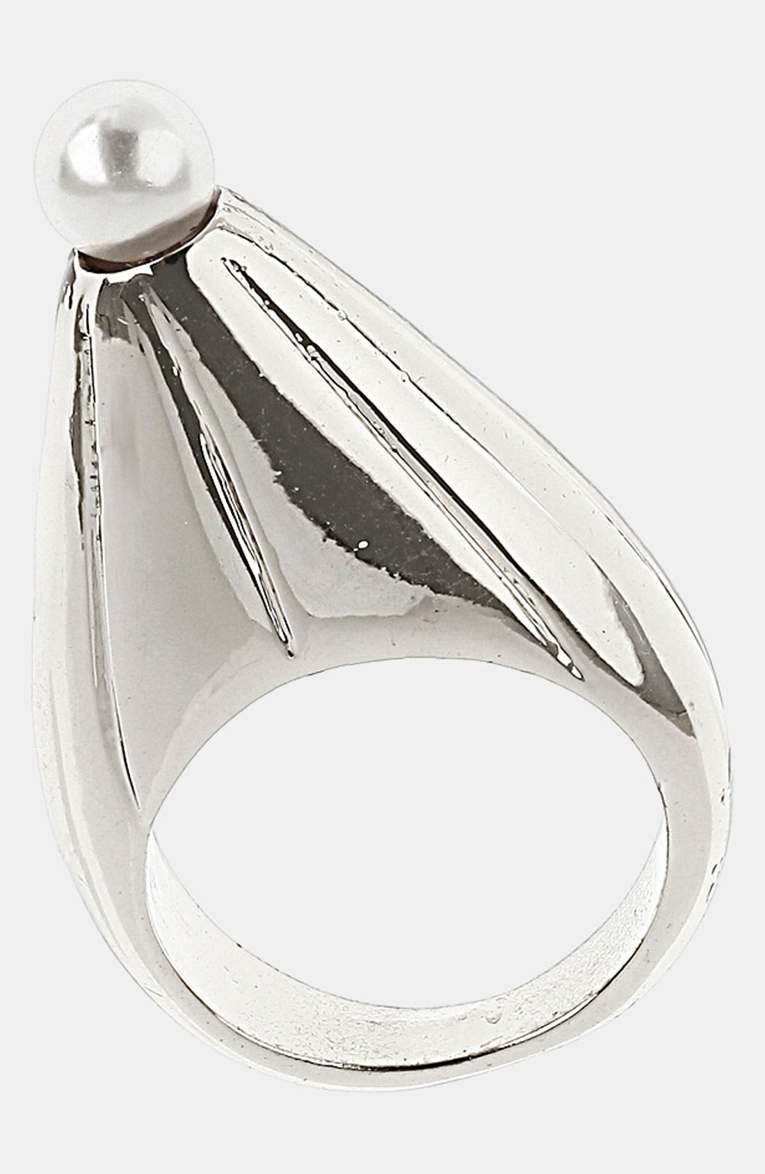 Main Image - Topshop Faux Pearl Point Ring