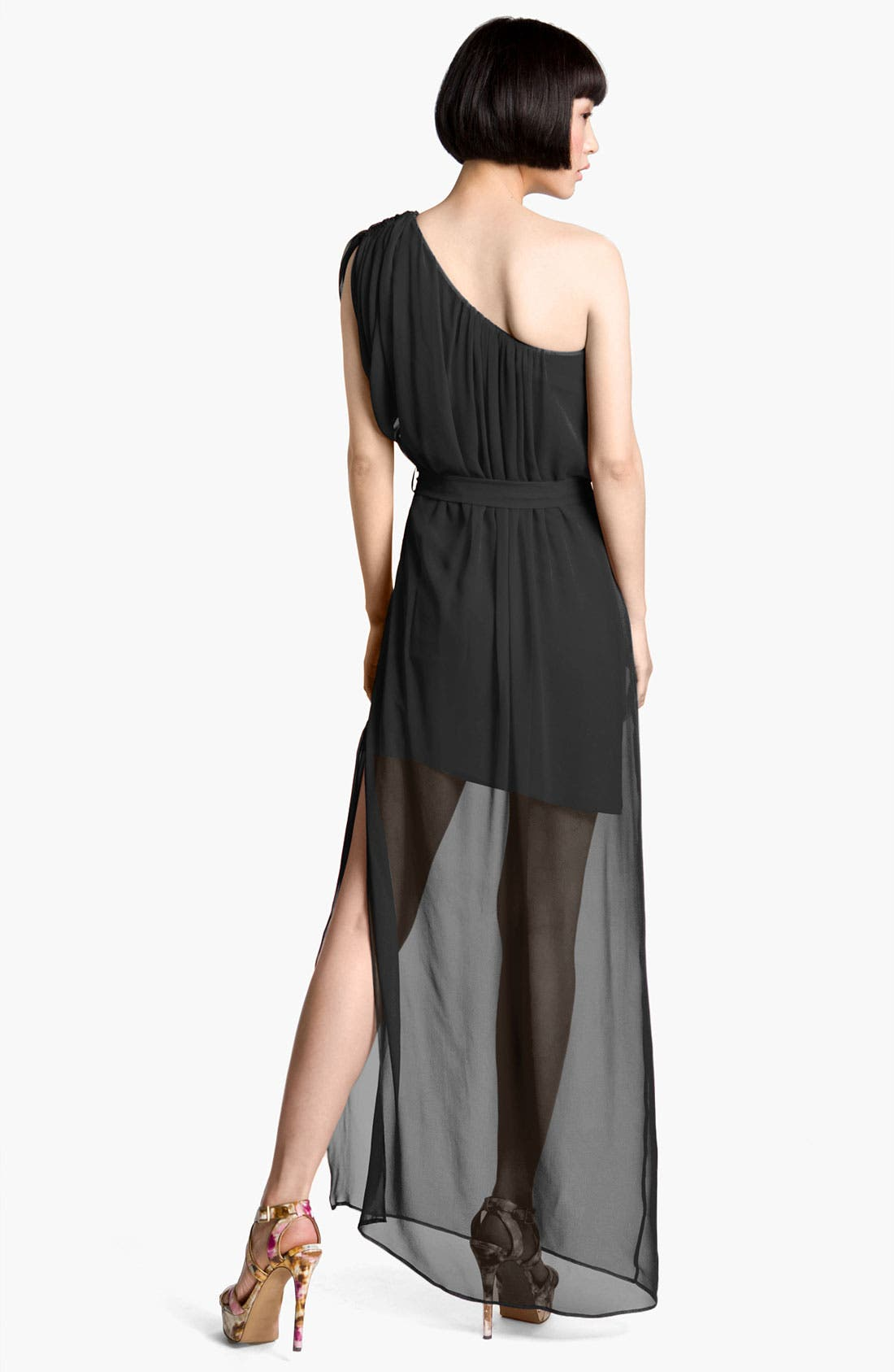 Alternate Image 2  - Abi Ferrin 'Dolce' Sheer One Shoulder Silk Maxi Dress