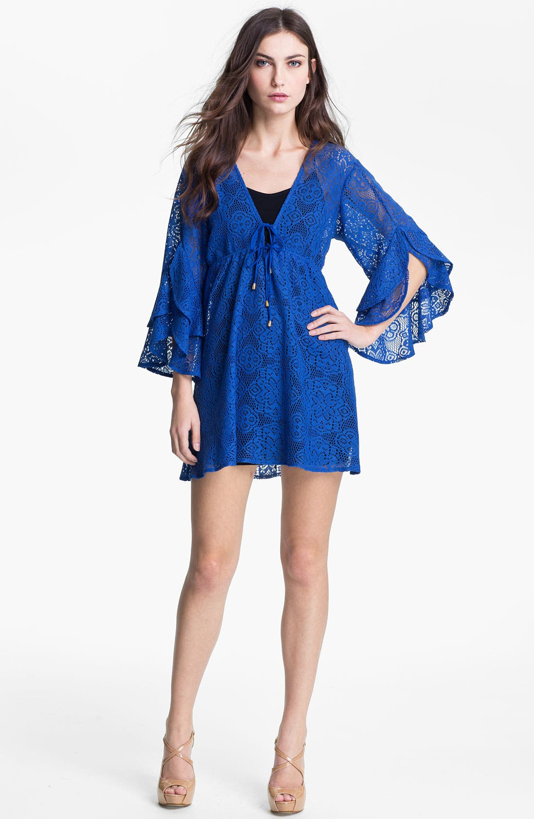 Main Image - Tbags Los Angeles Ruffle Bell Sleeve Lace Dress