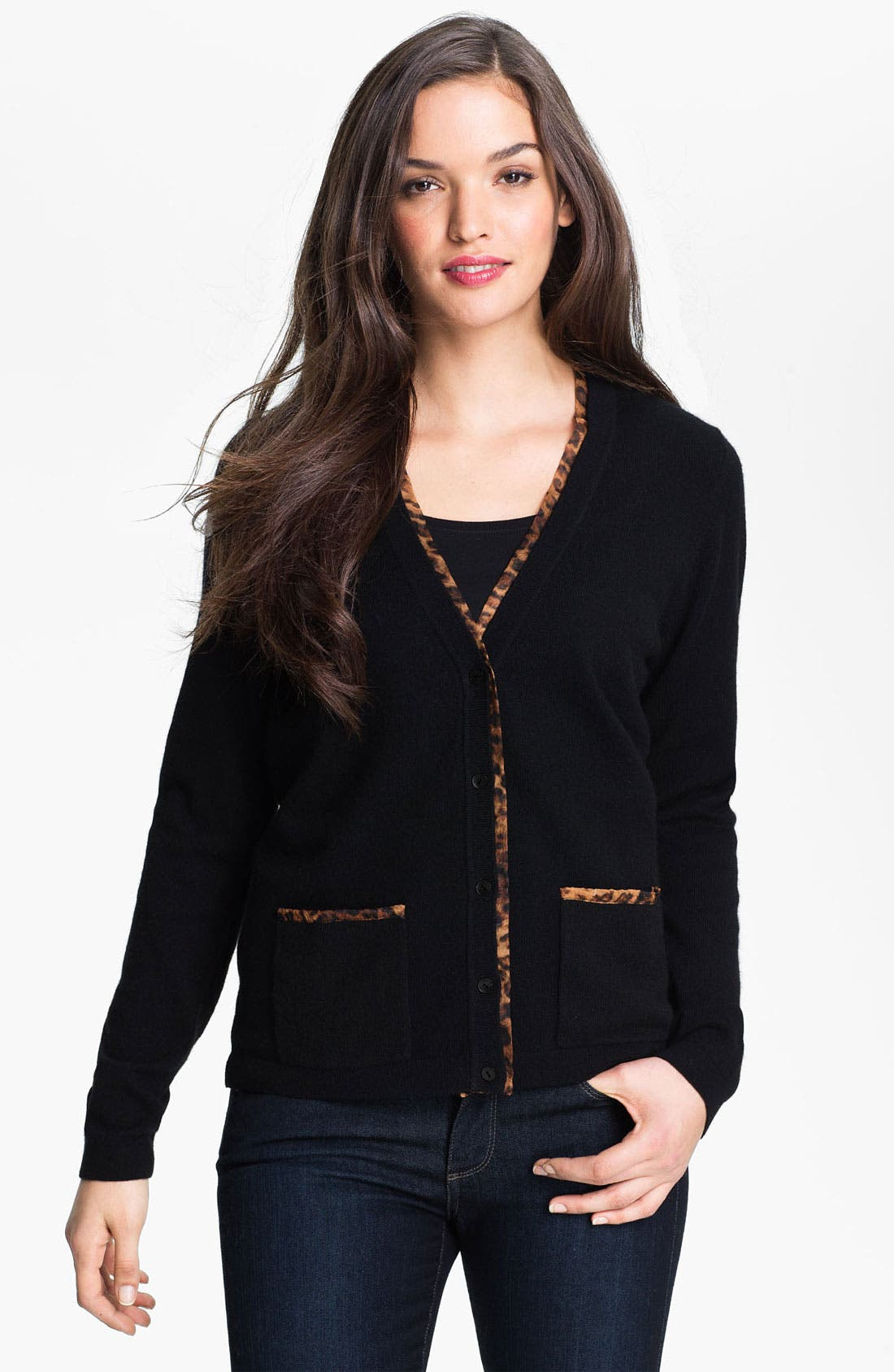 Main Image - Saffron Animal Print Trim Cashmere Cardigan