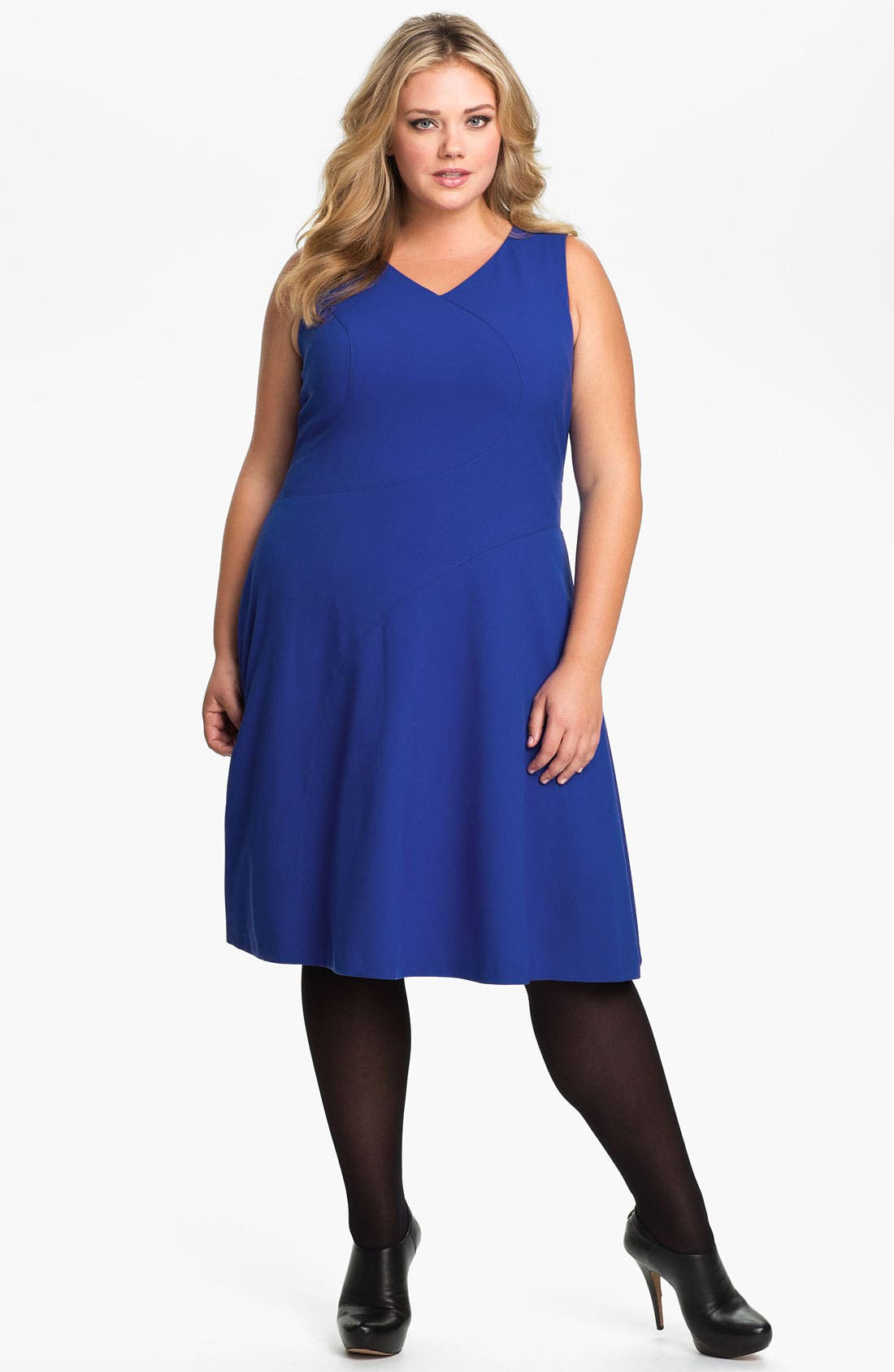 Main Image - Calvin Klein Sleeveless A-Line Jersey Dress (Plus)
