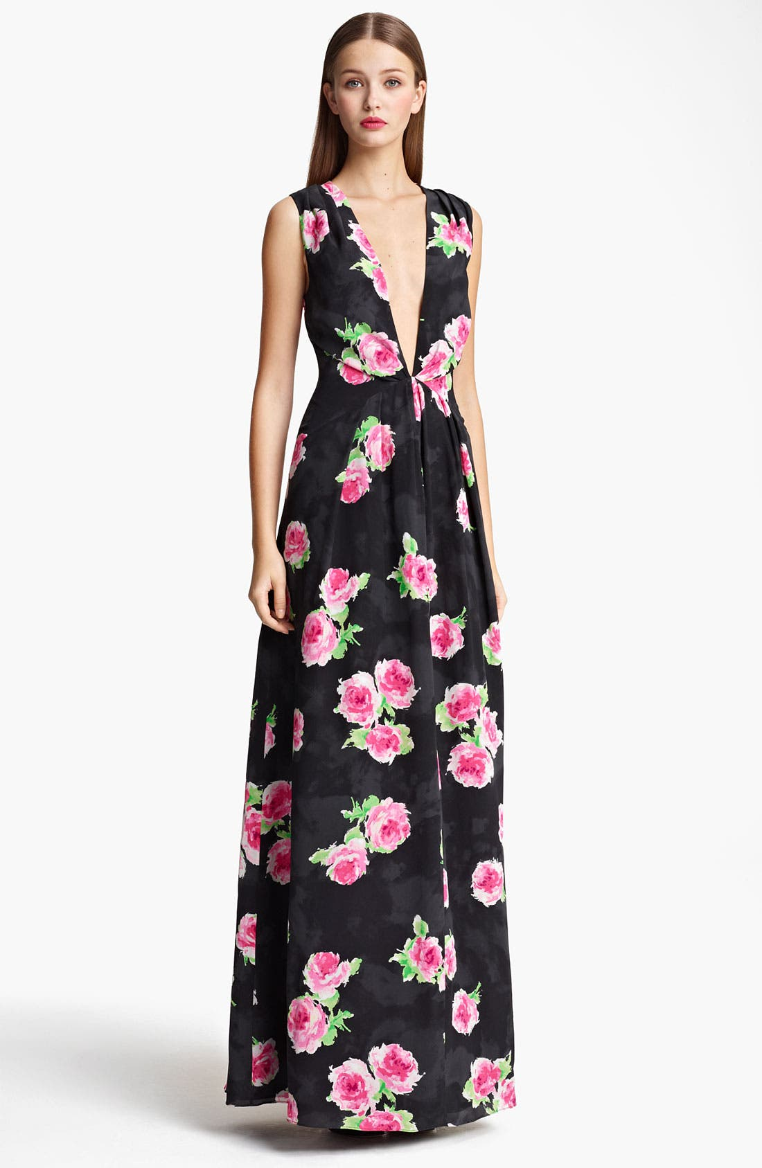 Main Image - Moschino Cheap & Chic Rose Print Crêpe de Chine Gown