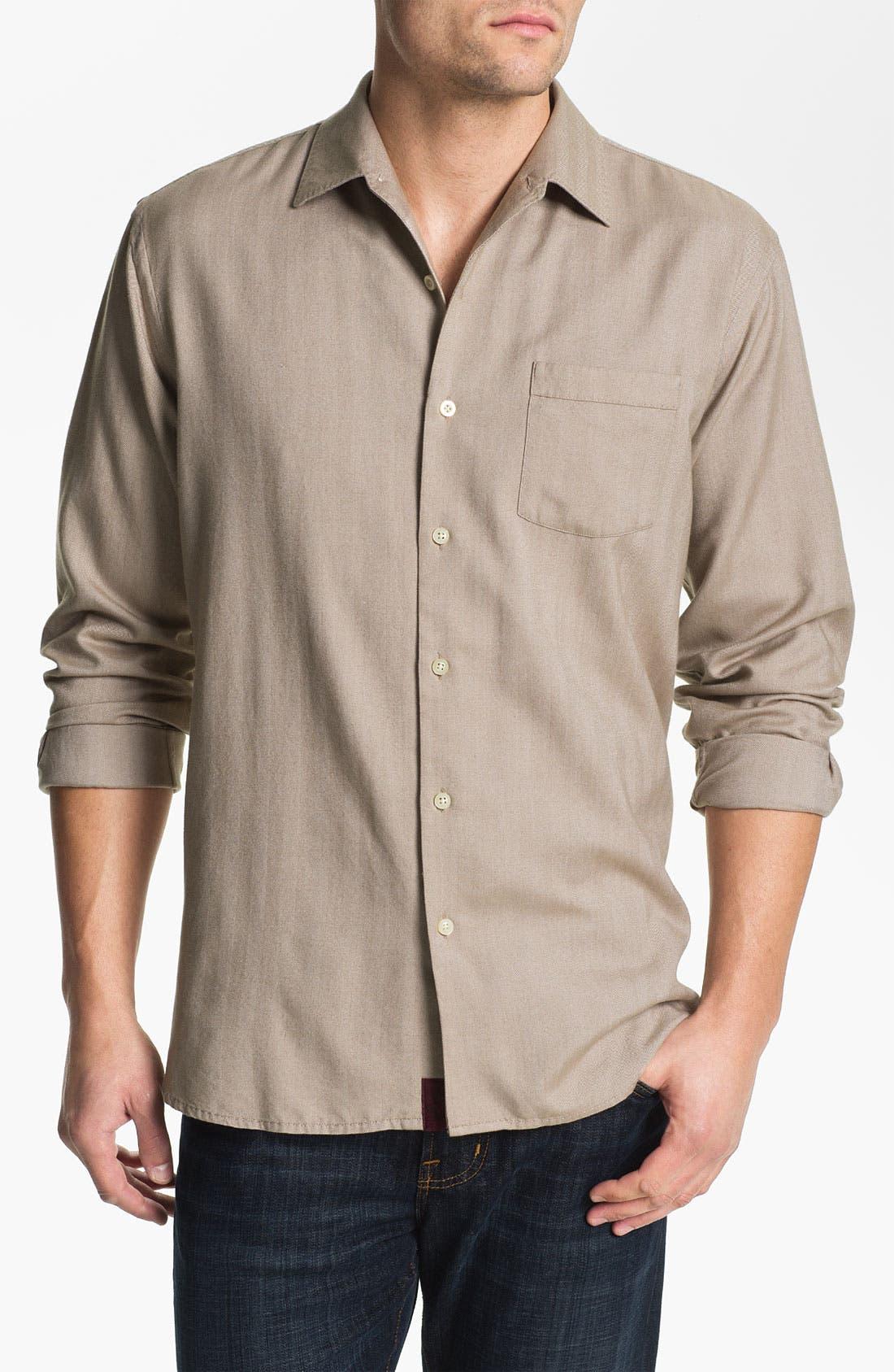 Alternate Image 1 Selected - Tommy Bahama 'Harbor Island' Silk & Cotton Sport Shirt (Big & Tall)