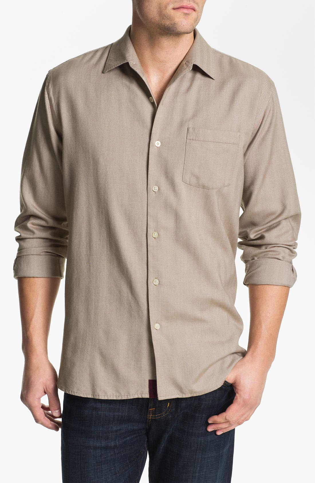 Main Image - Tommy Bahama 'Harbor Island' Silk & Cotton Sport Shirt (Big & Tall)