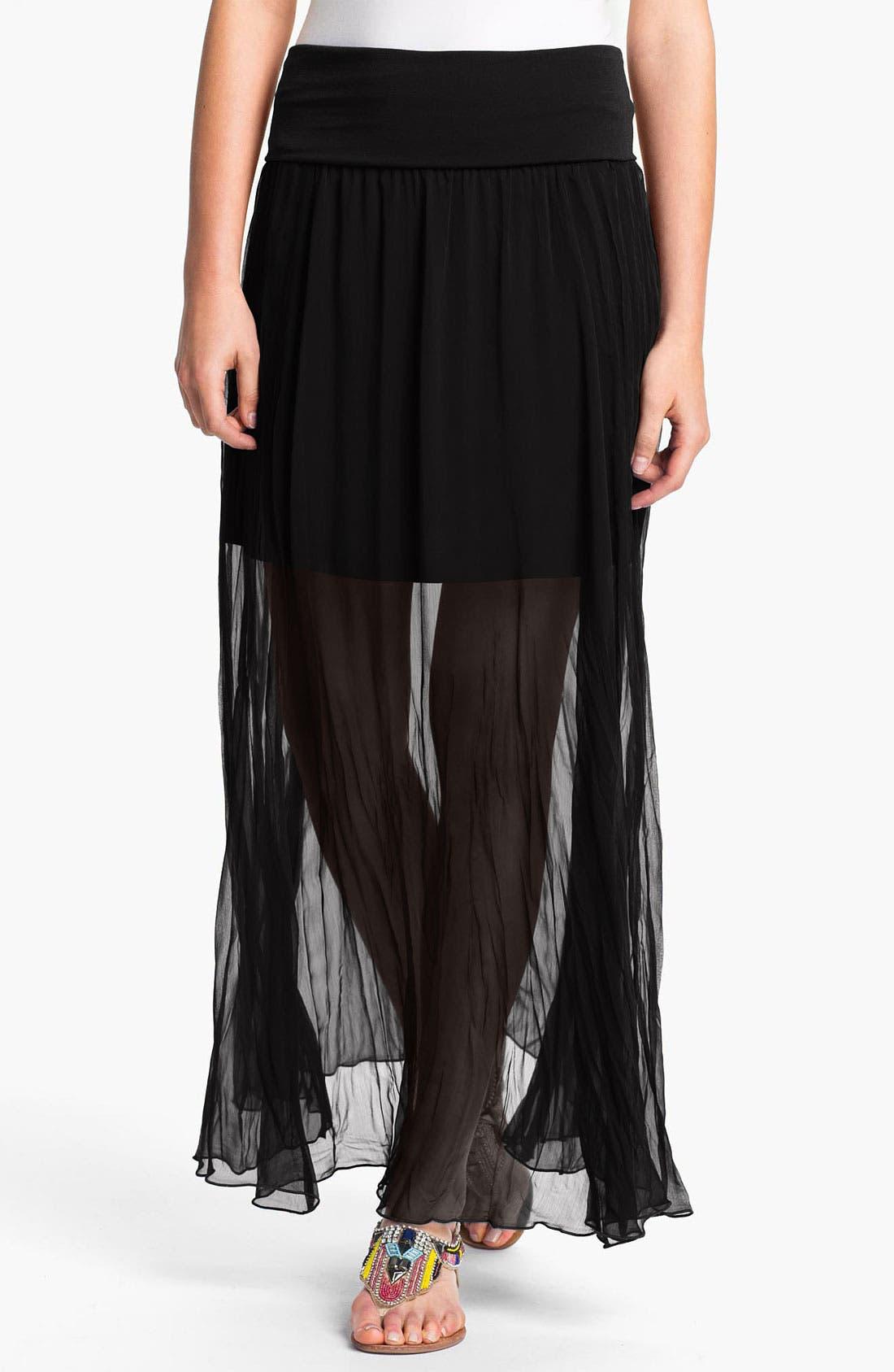 Main Image - Max & Mia Sheer Crinkle Maxi Skirt