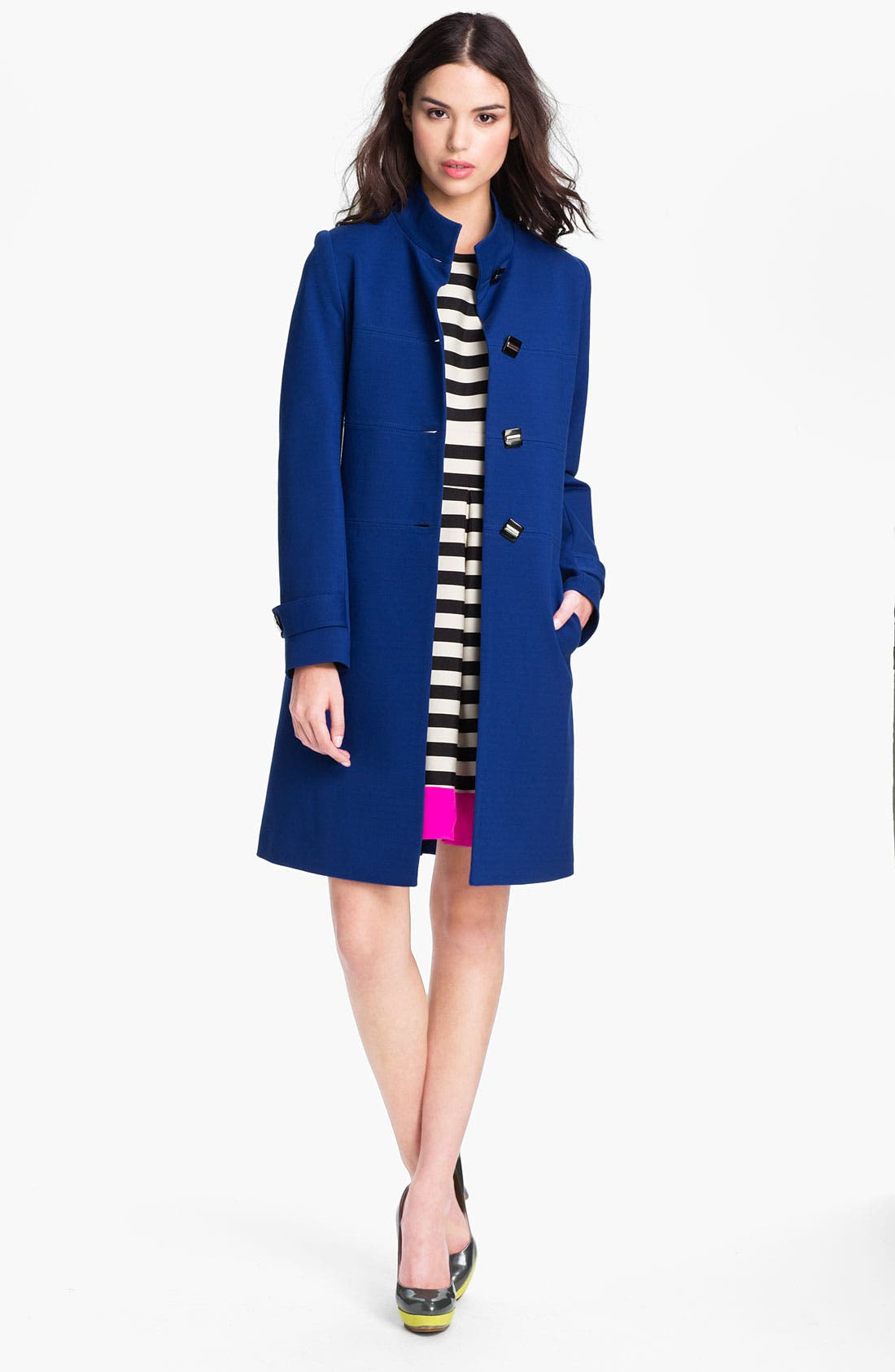 Main Image - Kristen Blake Single Breasted Ponte Walking Coat