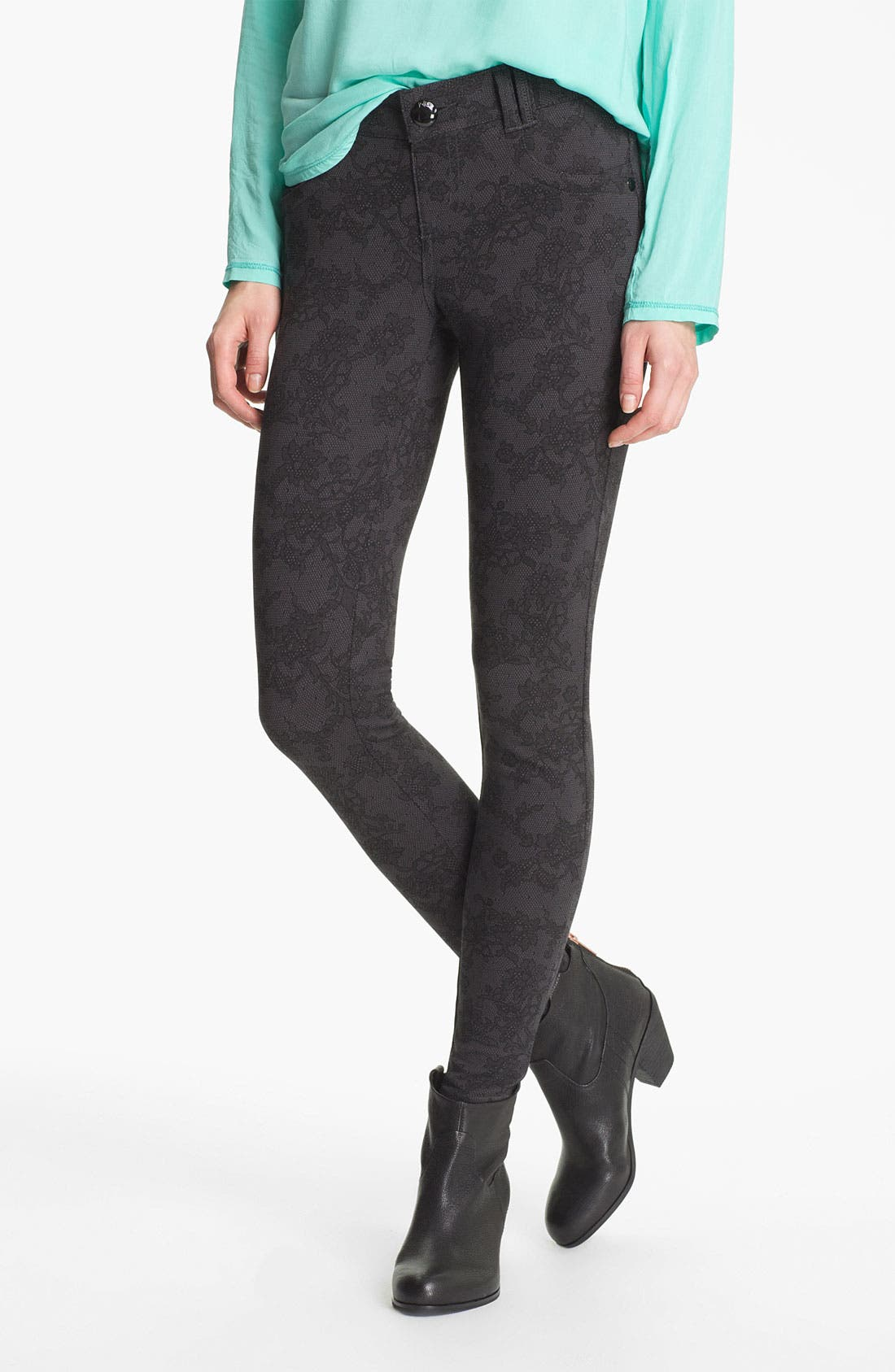 Main Image - Jolt Lace Print Ponte Skinny Pants (Juniors)