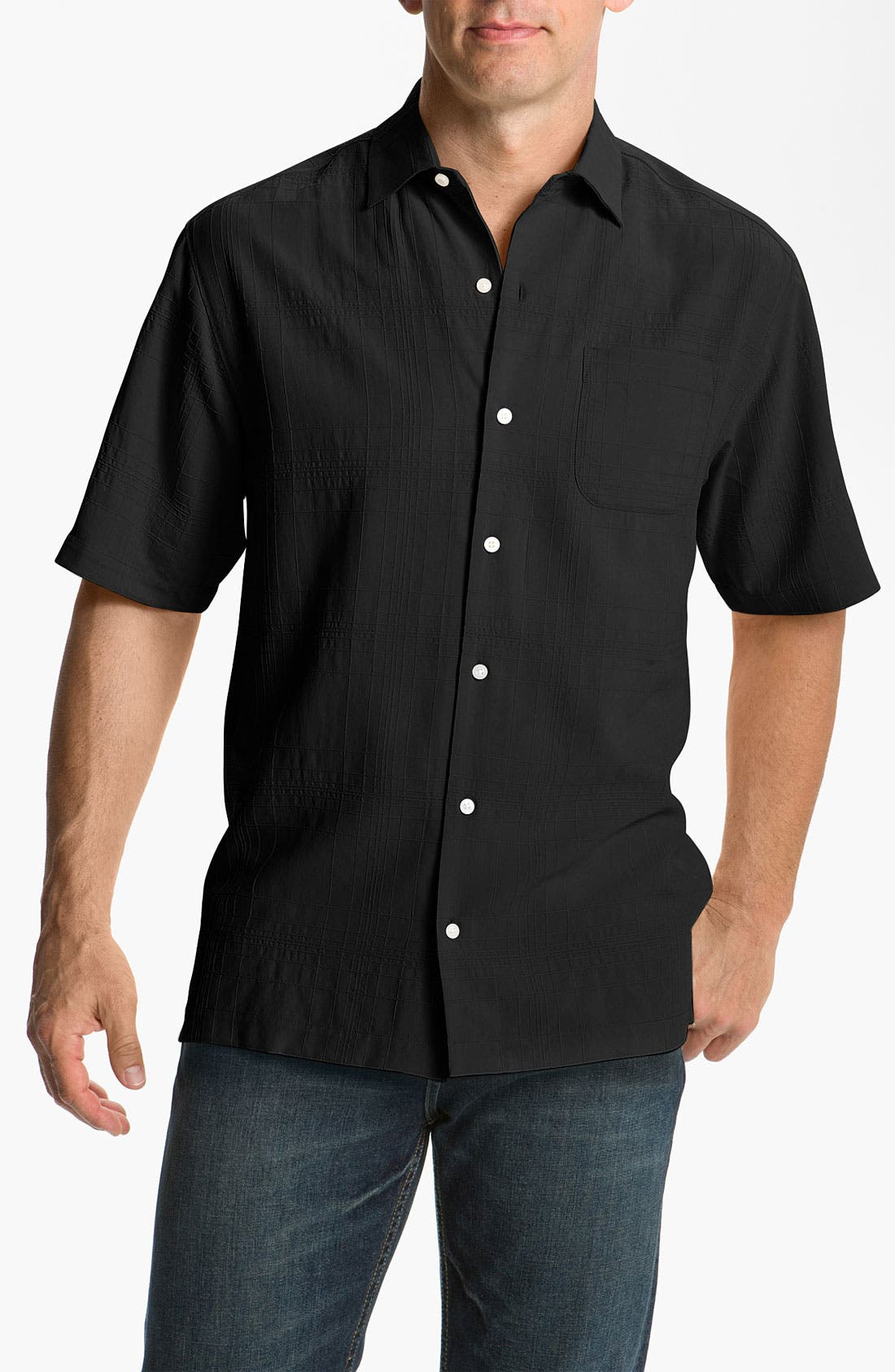 Alternate Image 1 Selected - Tommy Bahama 'Skyscraper' Silk Campshirt (Big & Tall)