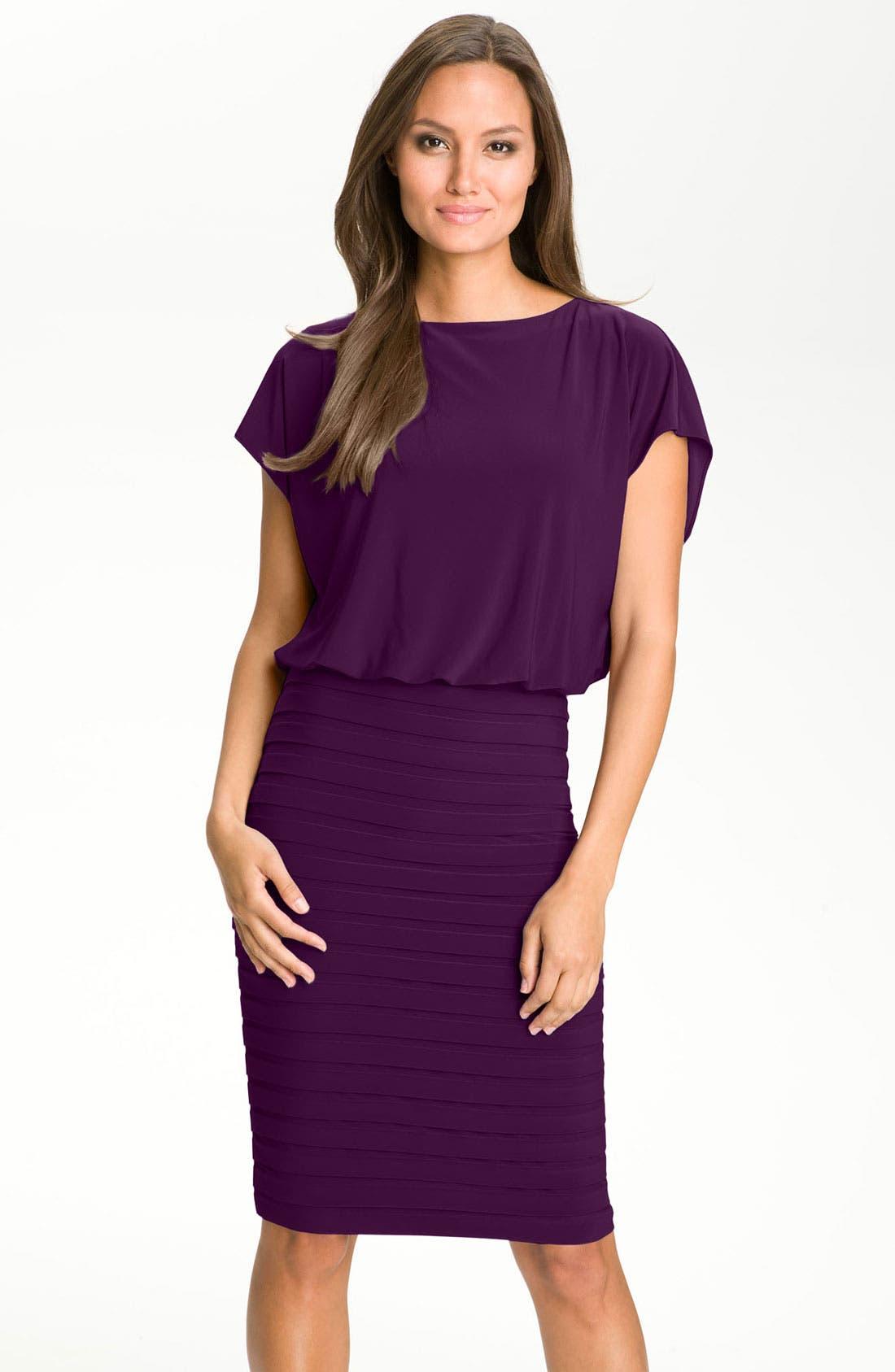 Main Image - Adrianna Papell Blouson Shutter Pleat Jersey Dress