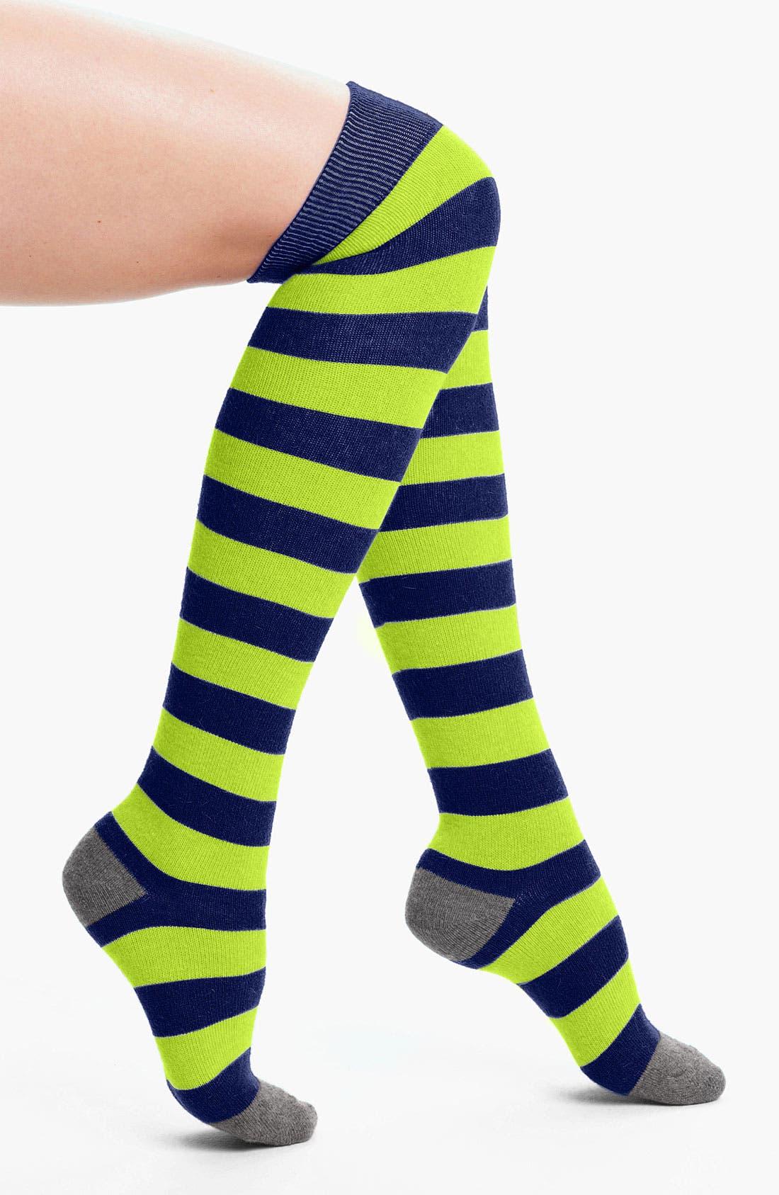 Main Image - Make + Model 'Candy Stripe' Over the Knee Socks
