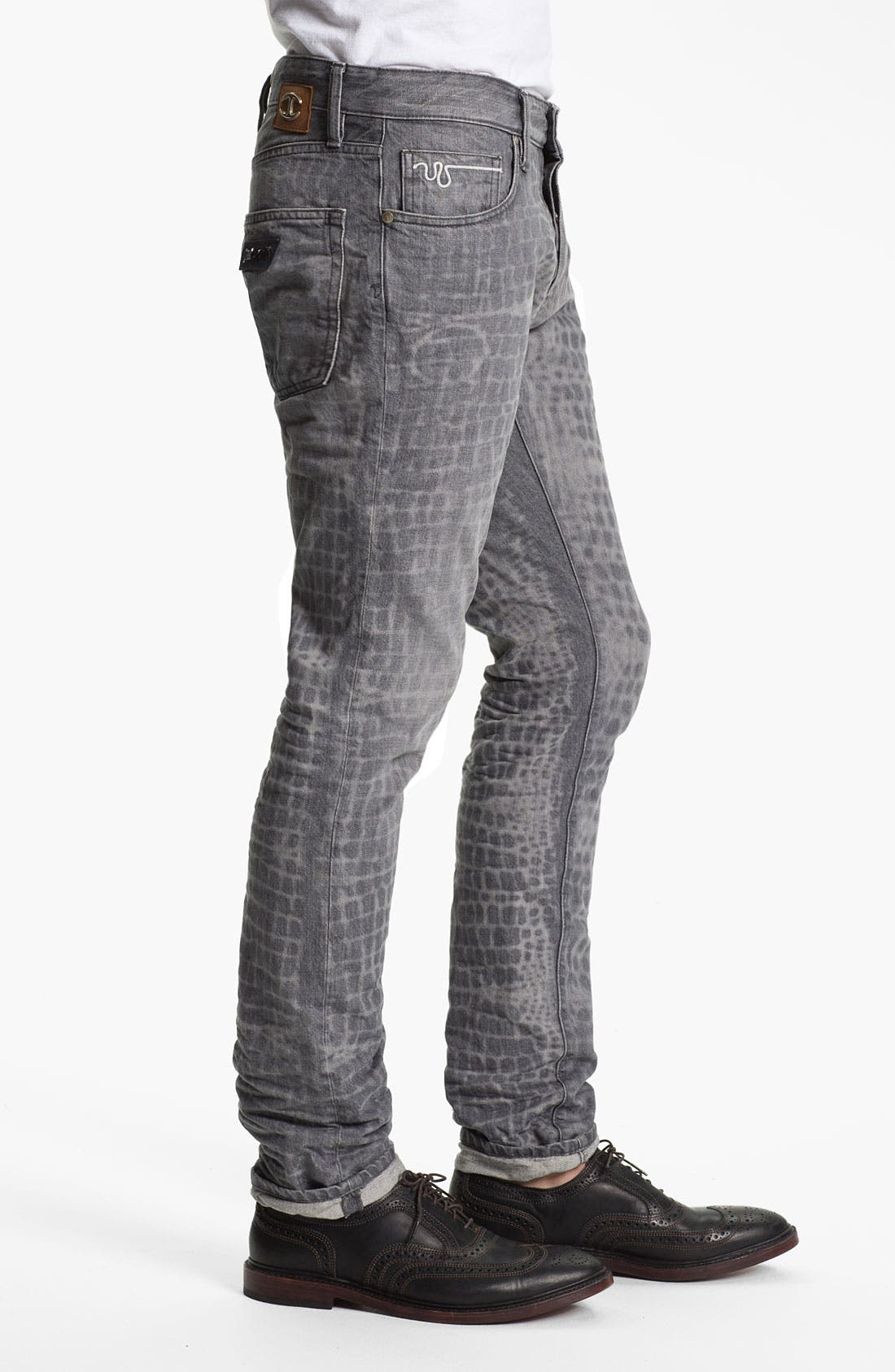 Alternate Image 3  - Just Cavalli Print Slim Straight Leg Jeans (Grey)