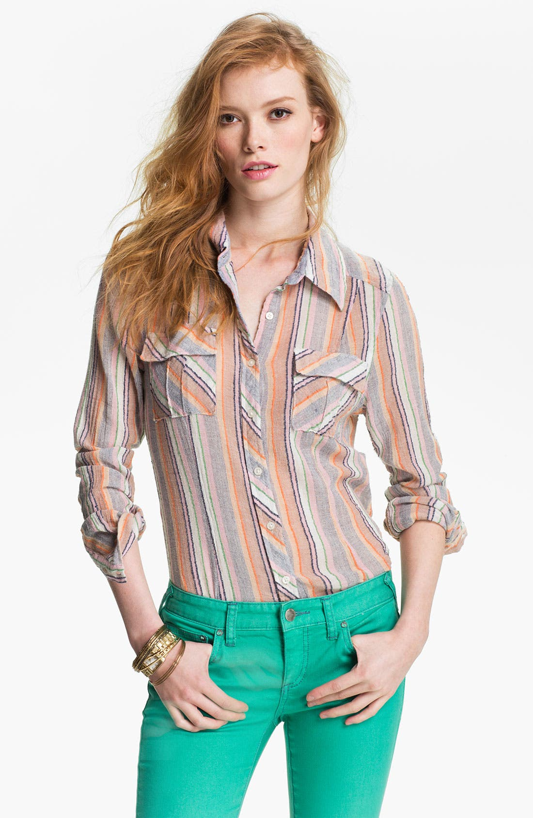 Alternate Image 1 Selected - Free People 'Midwest' Stripe Shirt