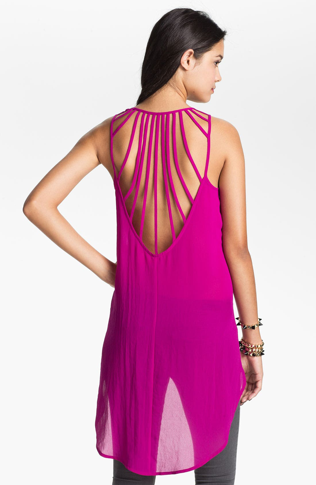 Alternate Image 2  - Lush Strappy High/Low Chiffon Tank (Juniors)