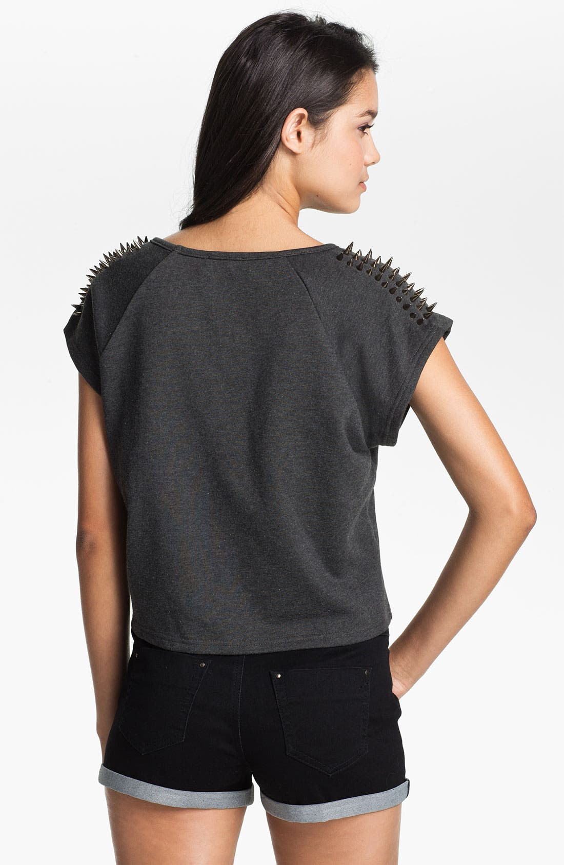 Alternate Image 2  - Elodie Stud Shoulder Crop Sweatshirt (Juniors)