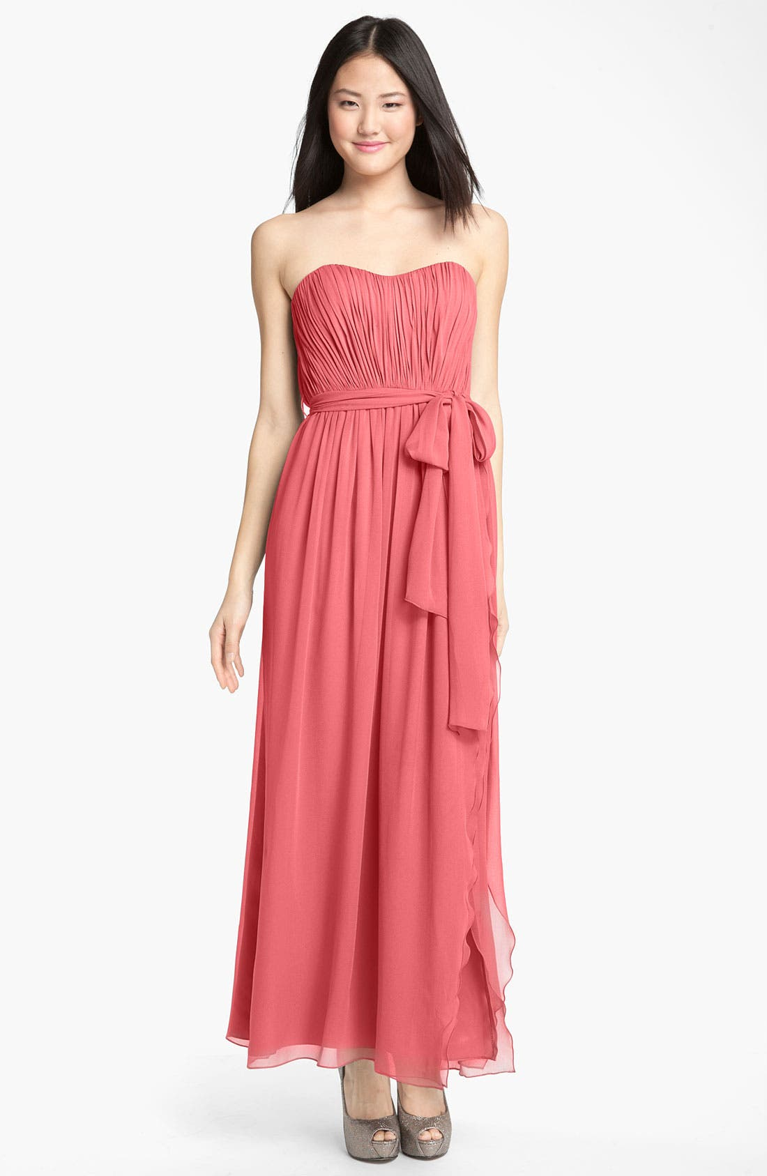 Main Image - Donna Morgan 'Grace' Sweetheart Ruched Chiffon Gown