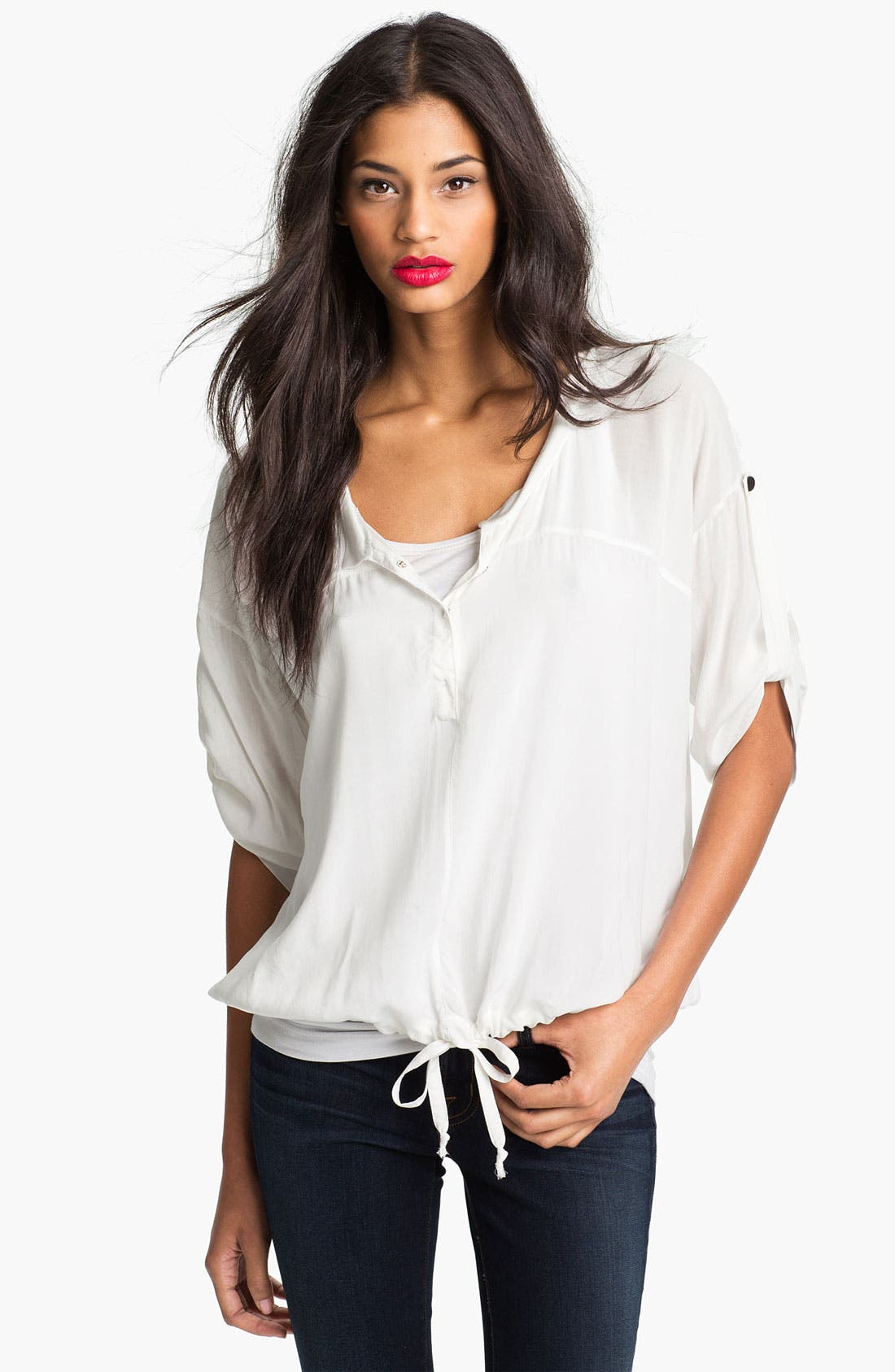 Alternate Image 1 Selected - Max & Mia Drawstring Hem Blouse (Online Exclusive)