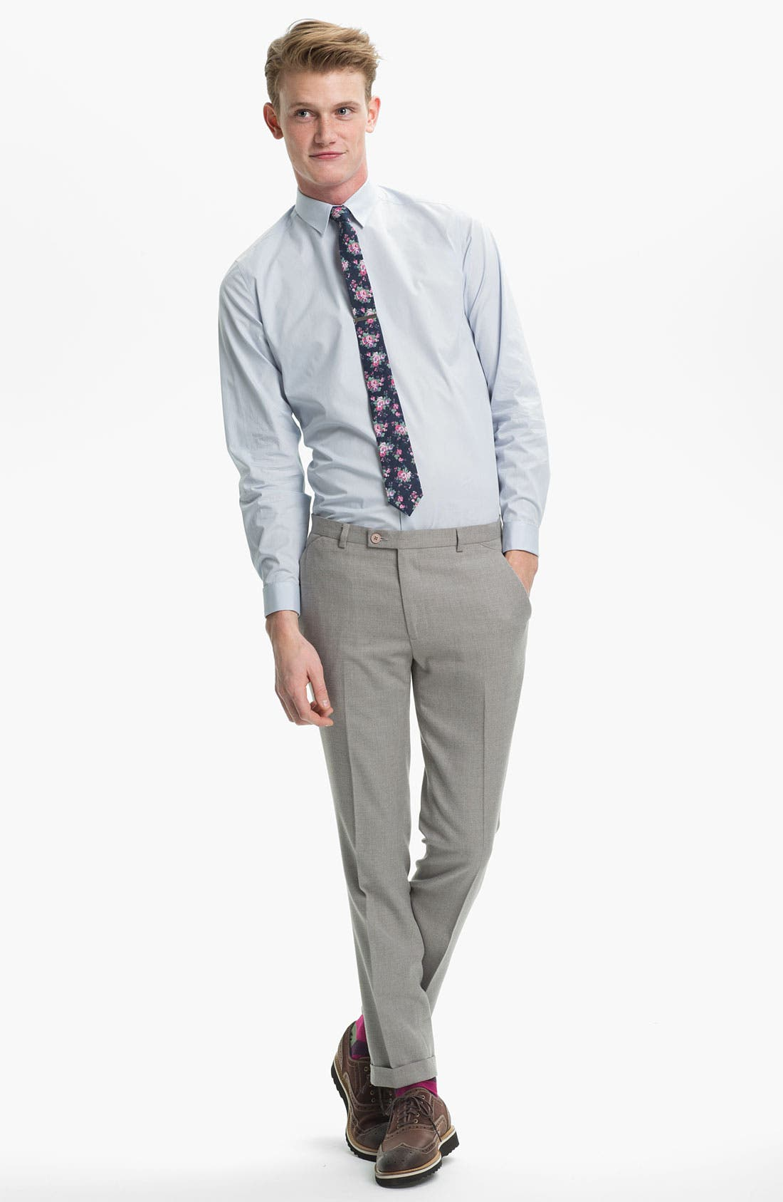Alternate Image 3  - Topman Floral Print Chambray Woven Tie