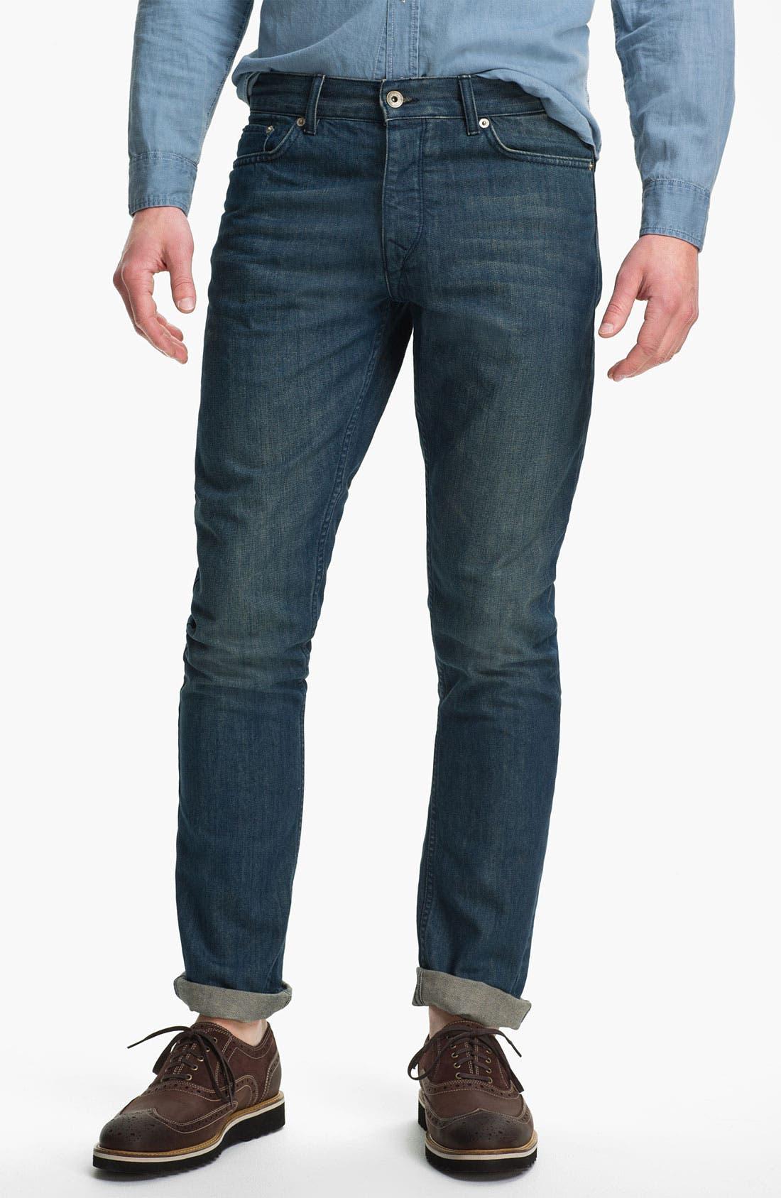 Main Image - Topman 'Isaac' Vintage Slim Fit Jeans (Mid Blue)