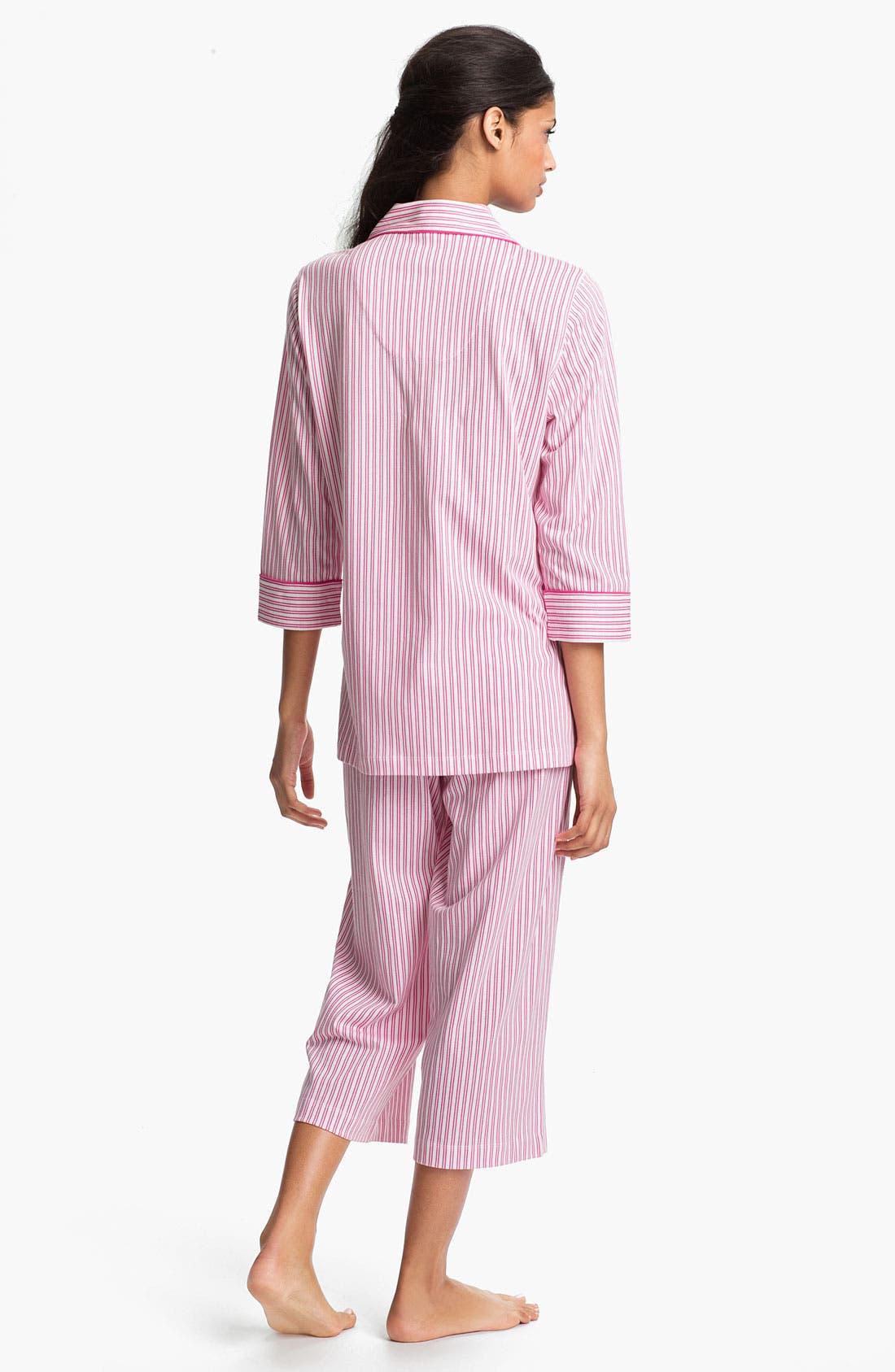 Alternate Image 2  - Lauren Ralph Lauren Sleepwear Cropped Stripe Pajamas