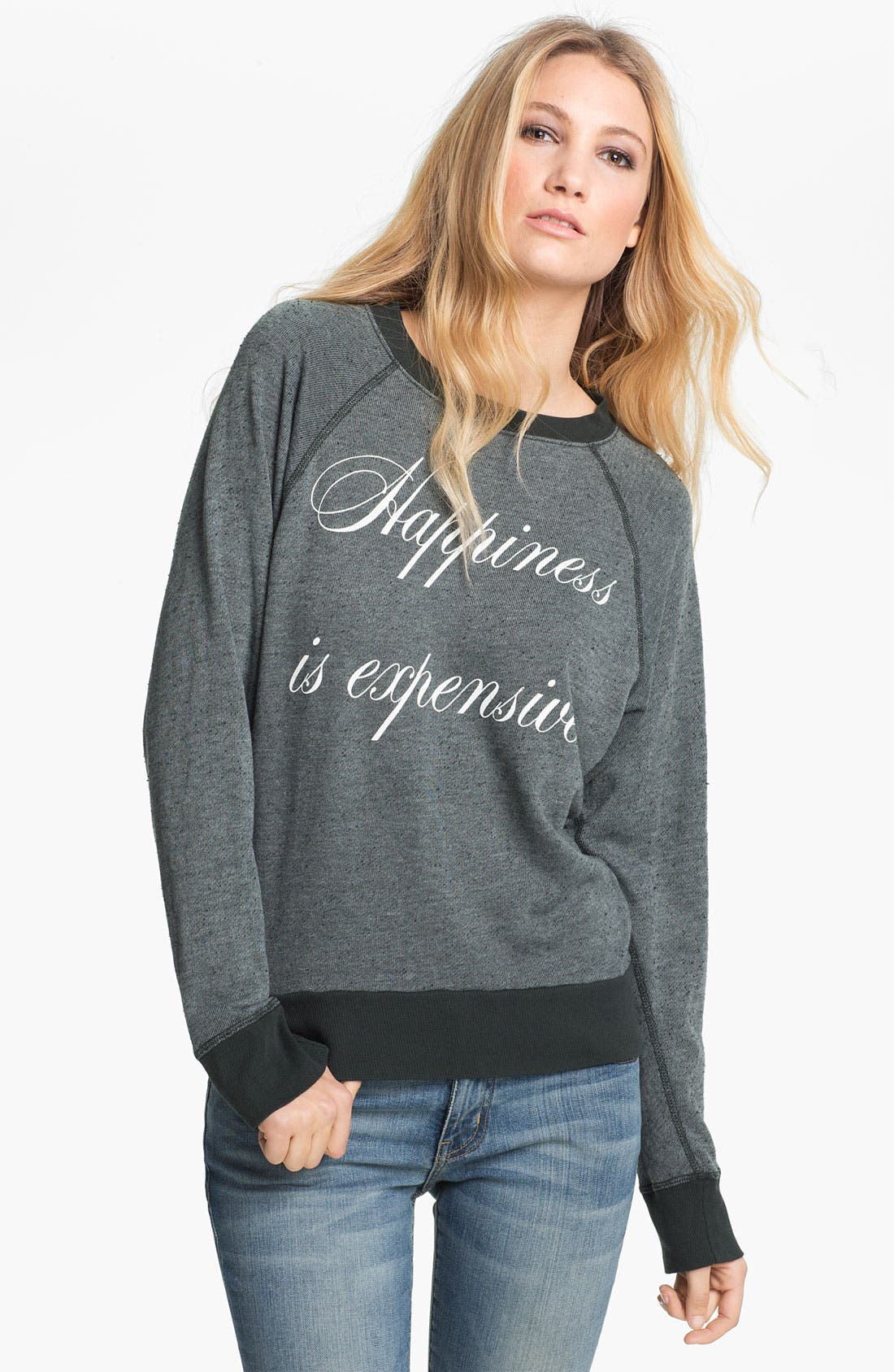 Main Image - Wildfox 'Happiness Is Expensive' Graphic Sweatshirt