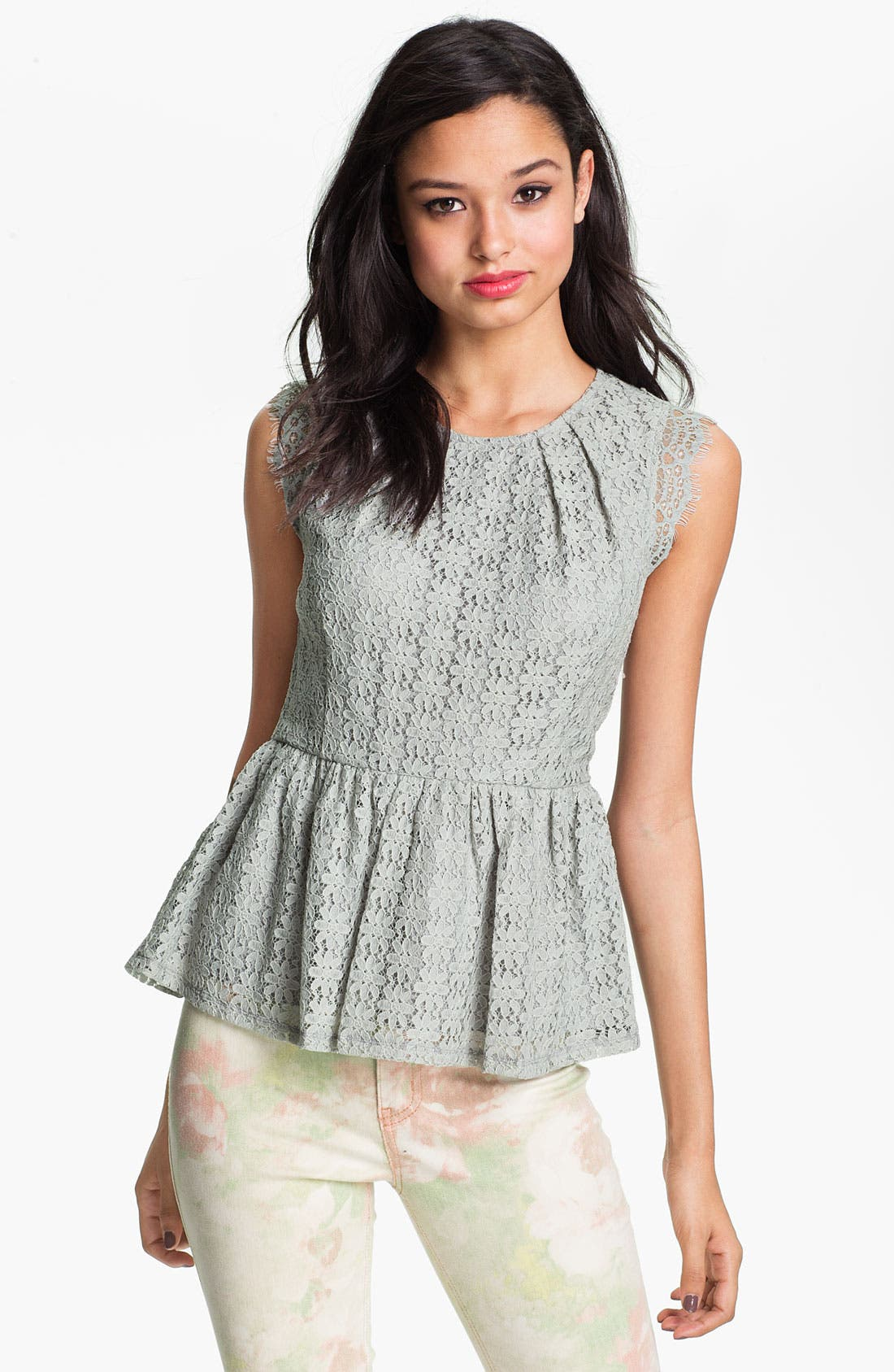 Main Image - Chloe K Lace Peplum Top (Juniors)