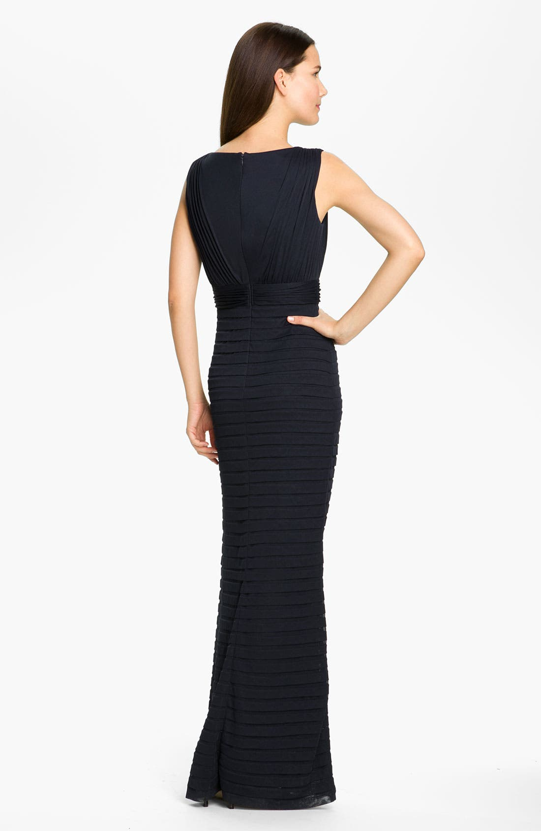 Alternate Image 2  - Adrianna Papell Pleated Lace Inset Mesh Gown (Petite)