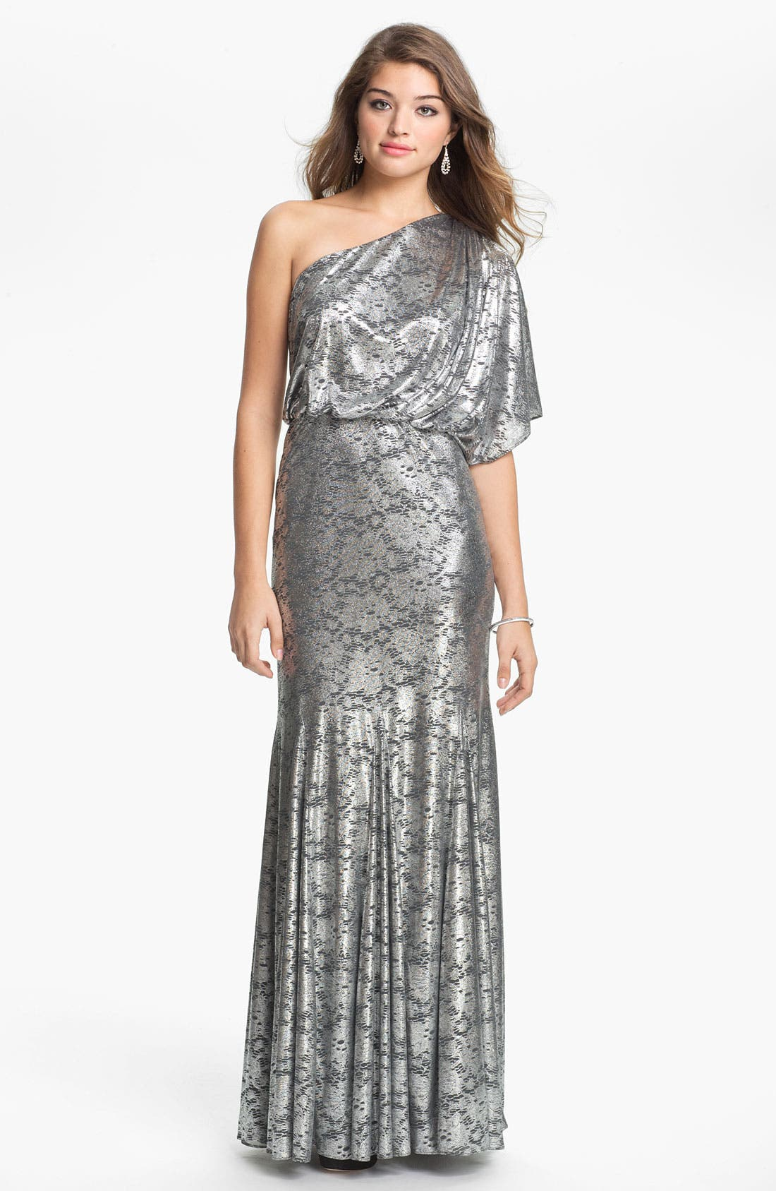 Alternate Image 1 Selected - Adrianna Papell One Shoulder Metallic Blouson Gown