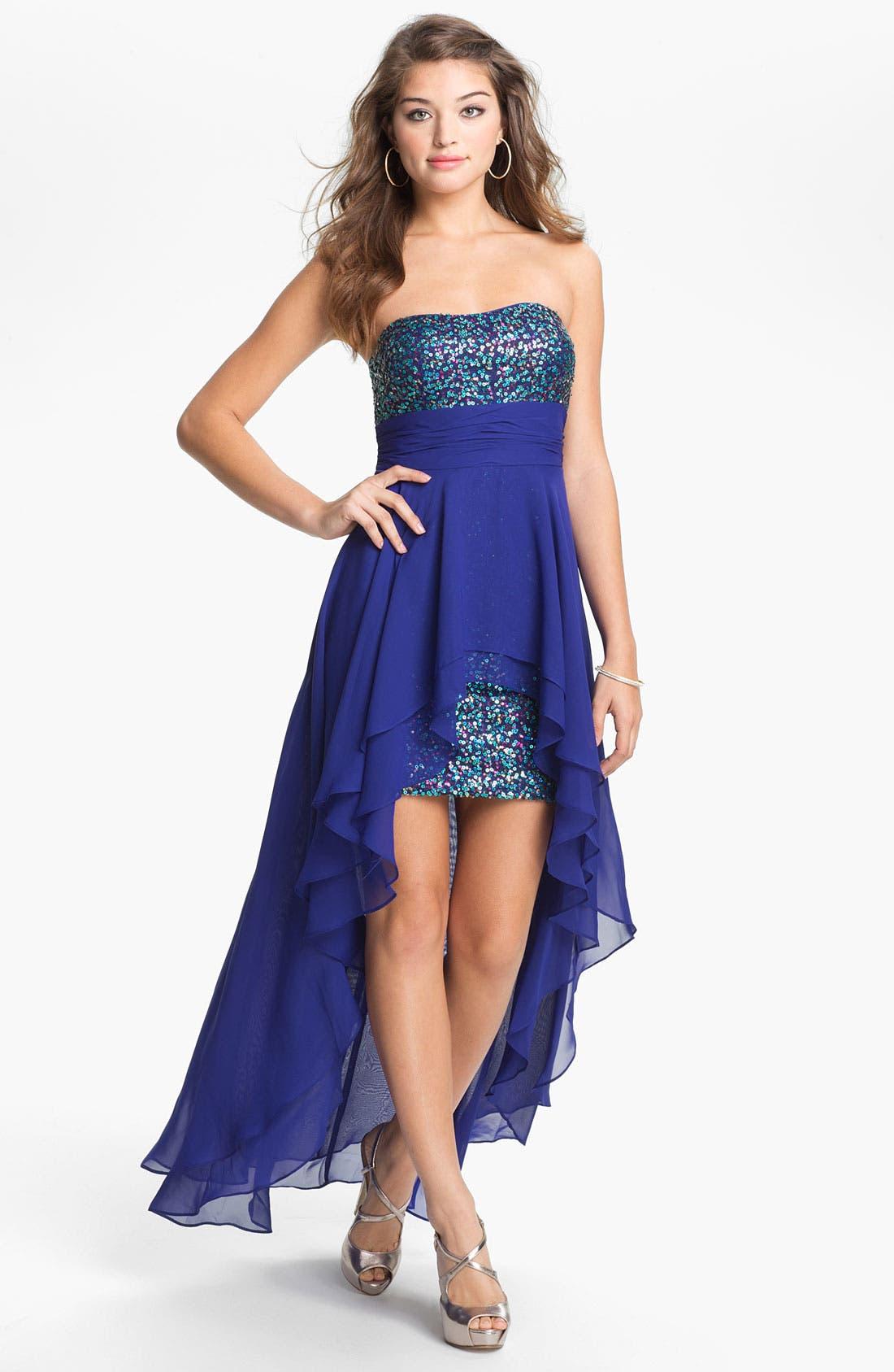 Main Image - Hailey Logan Chiffon Overlay Body-Con Dress (Juniors) (Online Exclusive)