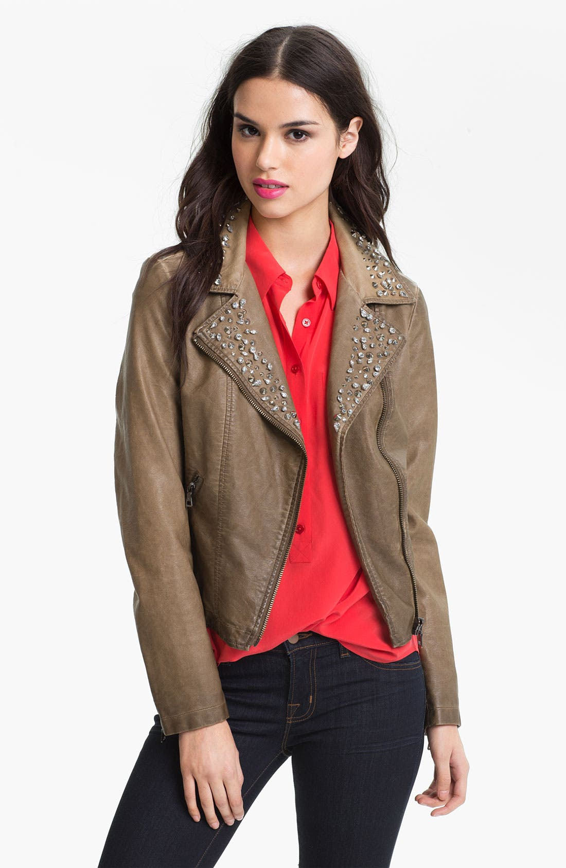 Alternate Image 1 Selected - Sam Edelman Cutaway Back Studded Faux Leather Jacket