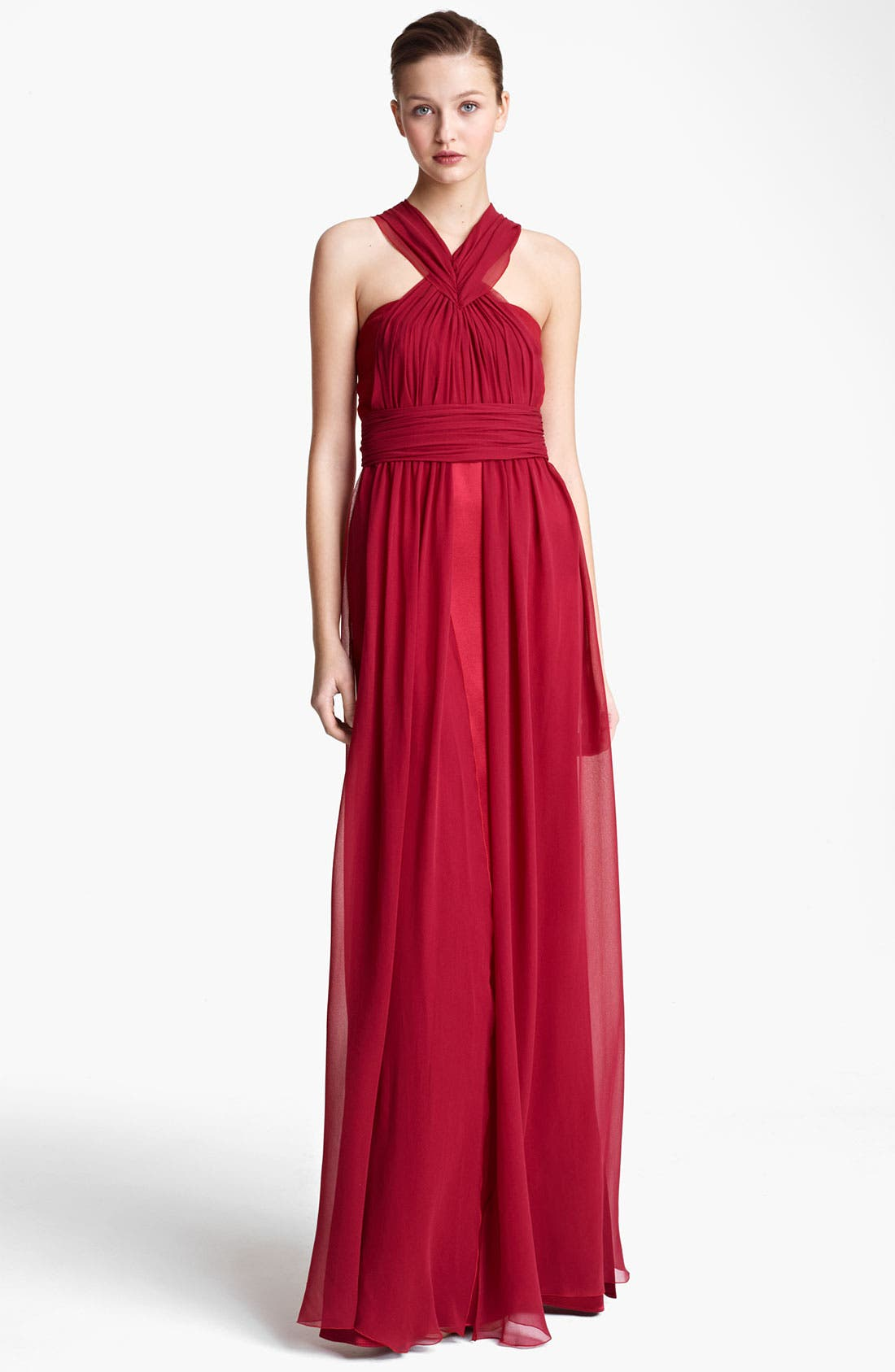 Main Image - Vionnet Ruched Chiffon & Satin Gown