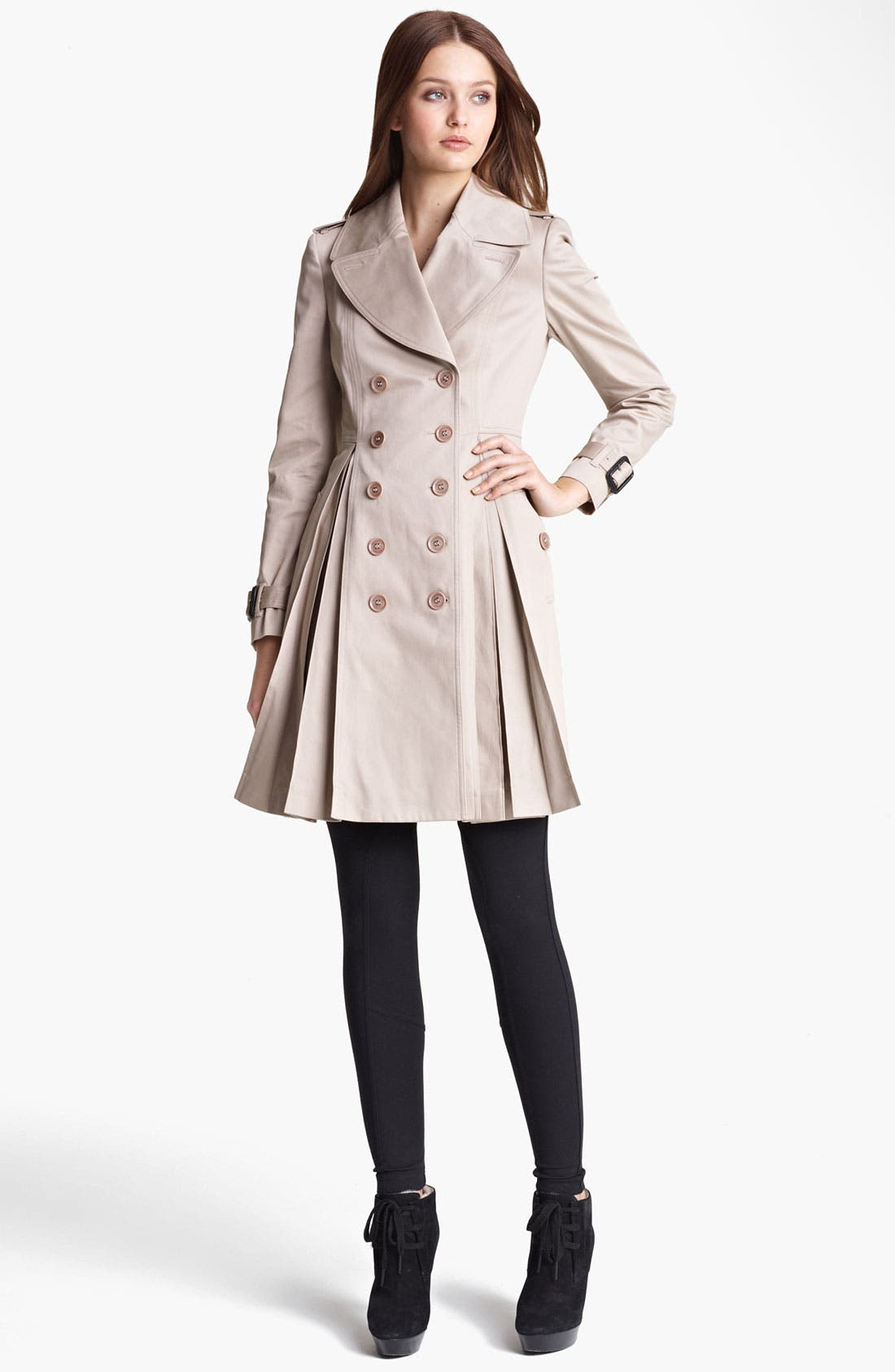Alternate Image 1 Selected - Burberry London Pleated Trench Coat