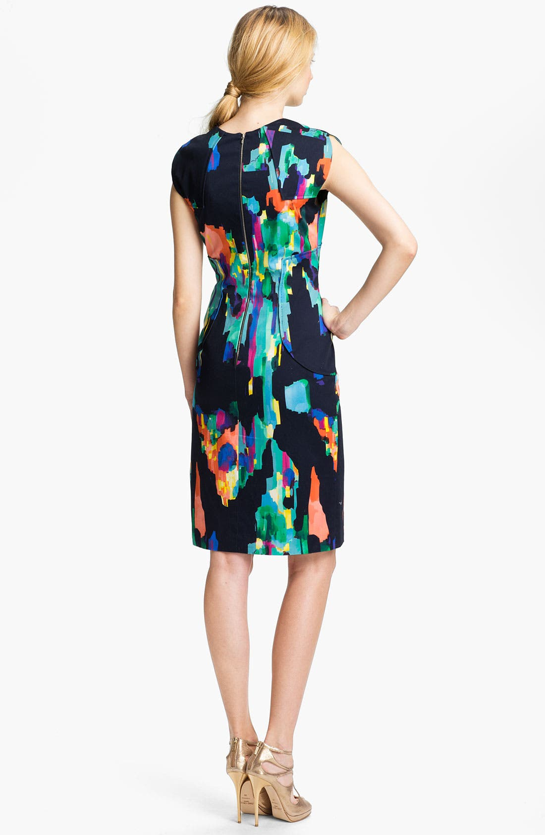 Alternate Image 2  - Lela Rose Stretch Cotton Sheath Dress