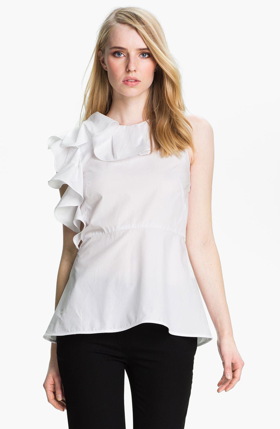 Alternate Image 2  - Halston Heritage Ruffle Detail Cotton Top