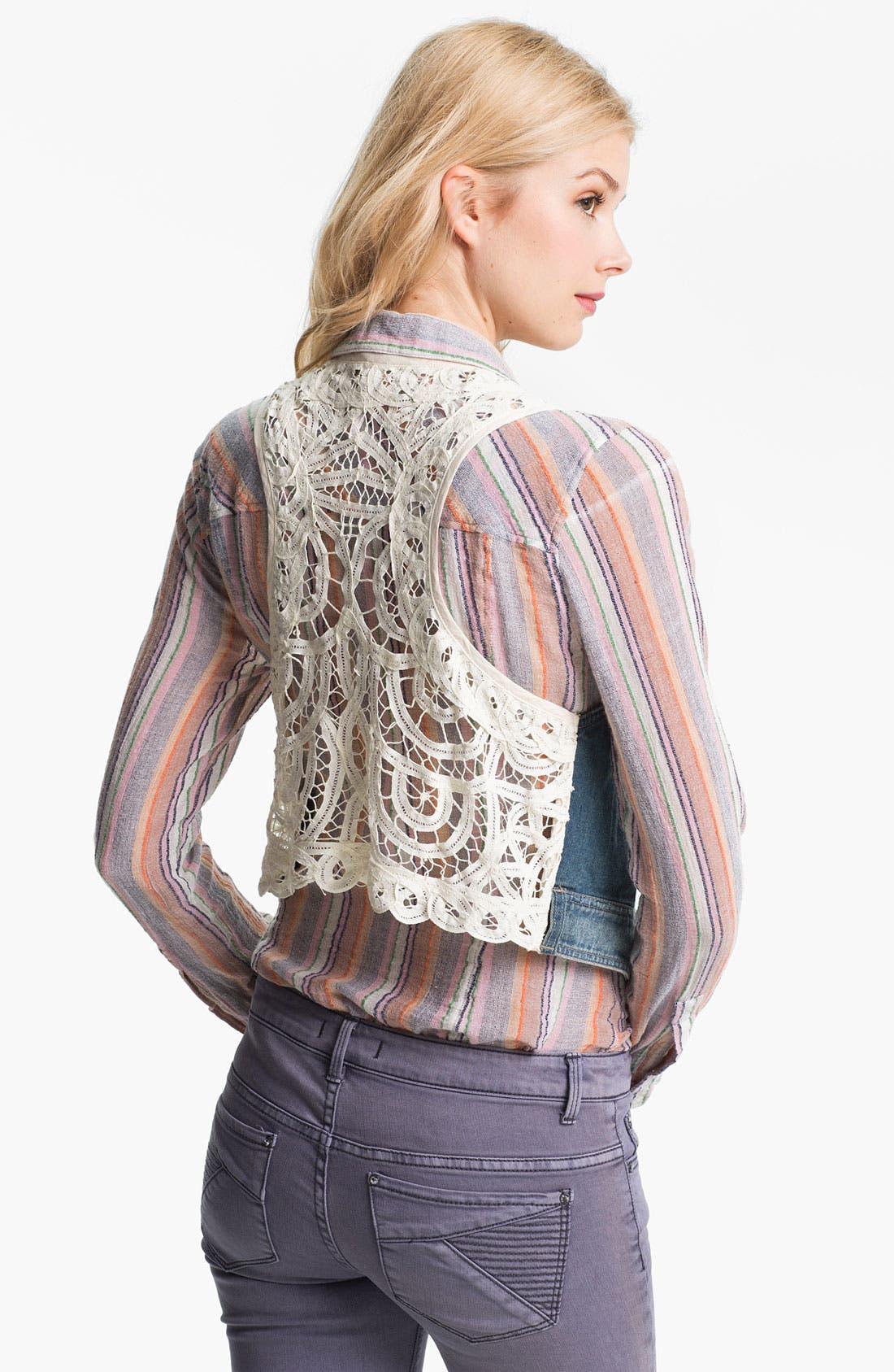 Alternate Image 2  - Free People Battenburg Lace Back Denim Vest