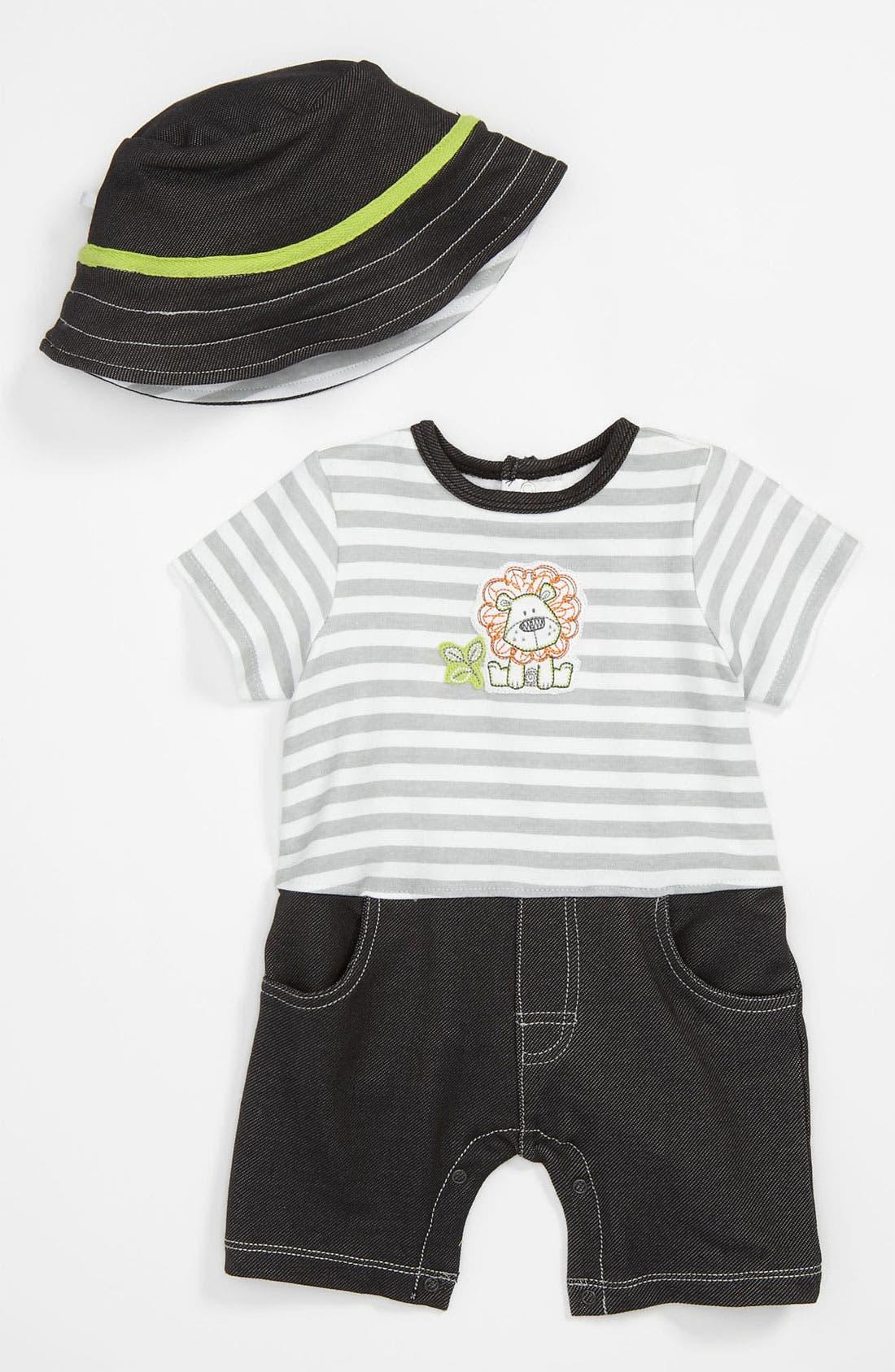 Alternate Image 1 Selected - Little Me 'Safari Club' Romper & Hat (Infant)