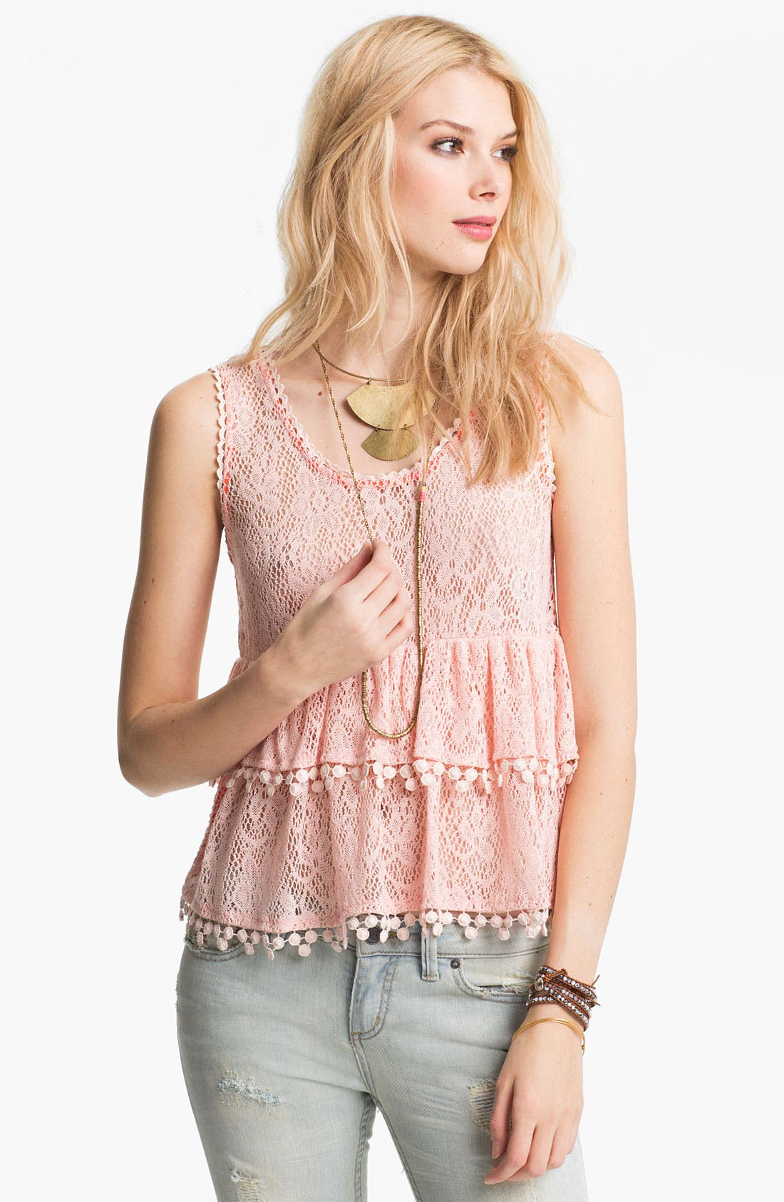 Main Image - Free People 'Daydream' Tiered Lace Tank