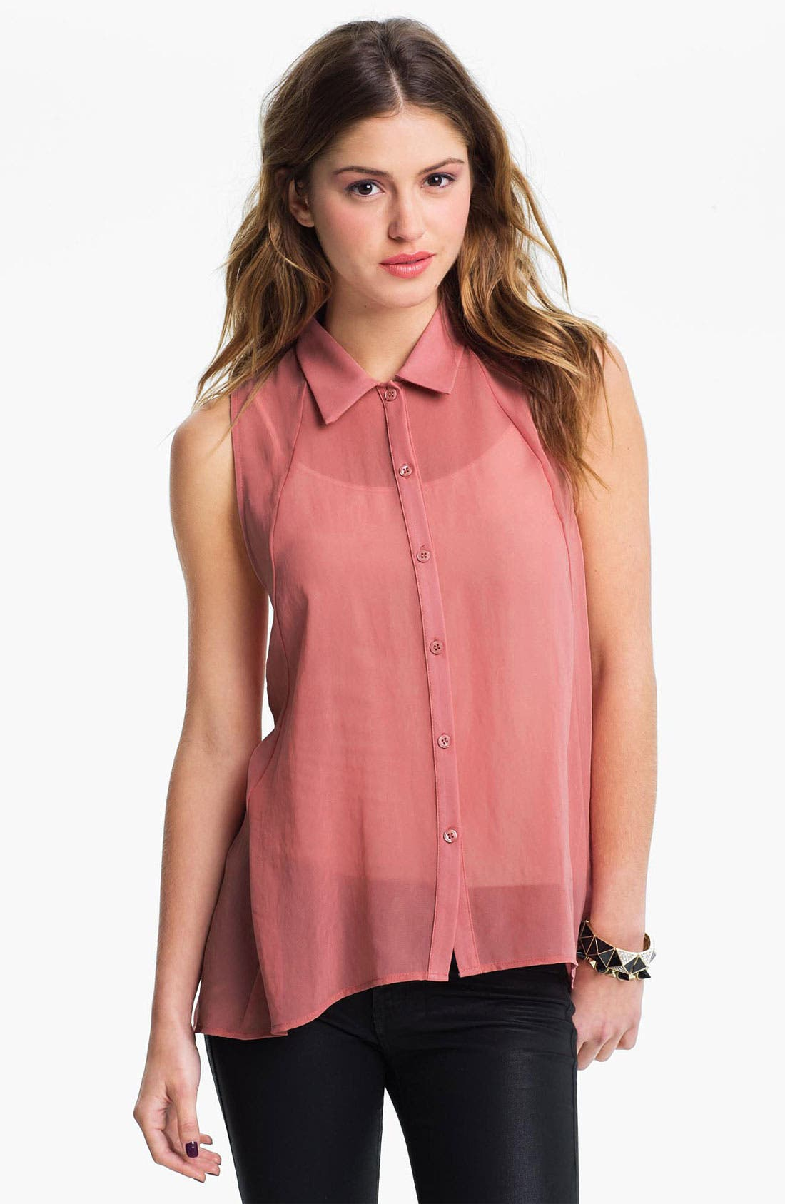 Main Image - Lush Lace Back Chiffon Shirt (Juniors)