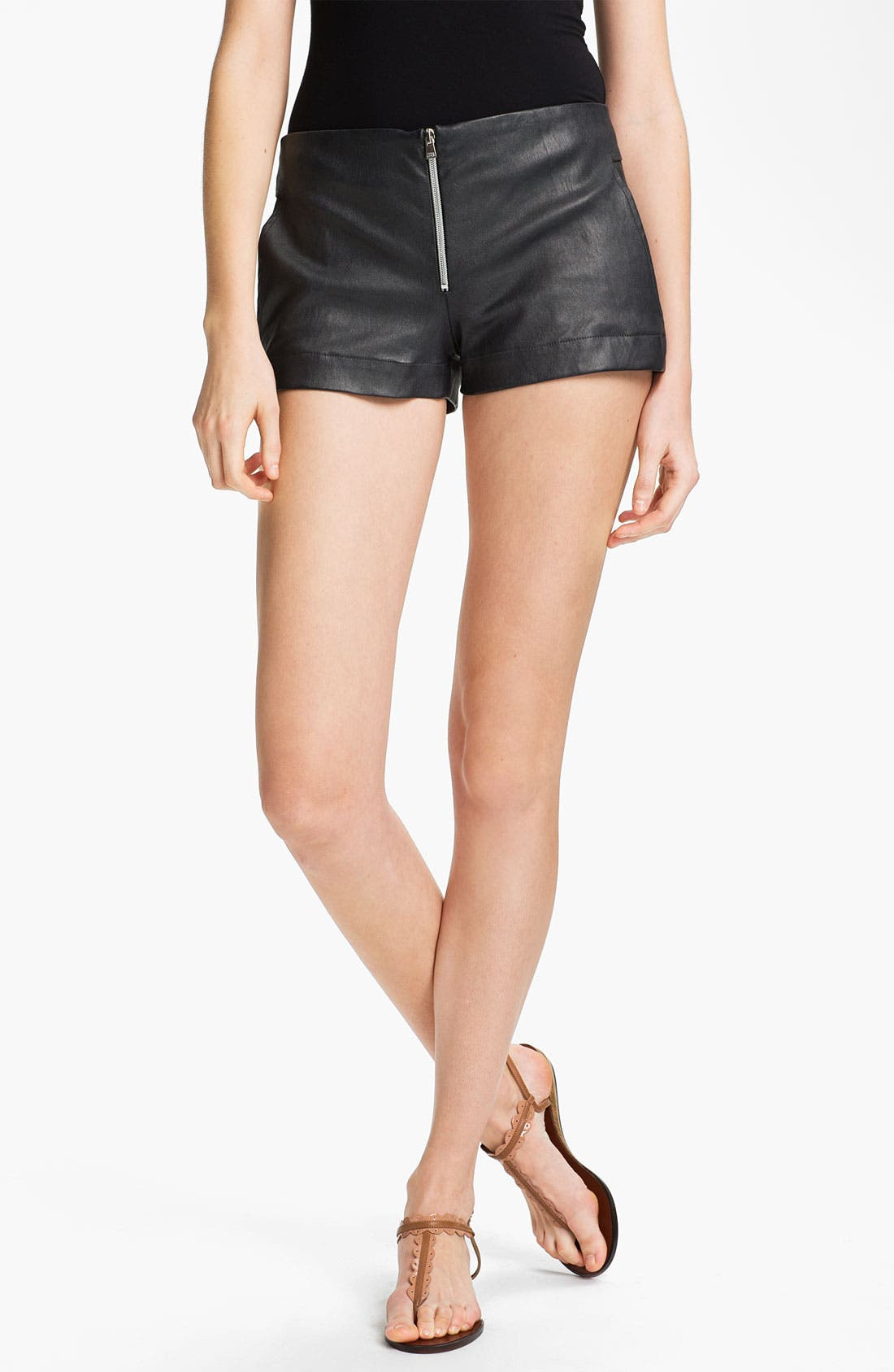 Alternate Image 1 Selected - L'AGENCE Lambskin Leather Shorts