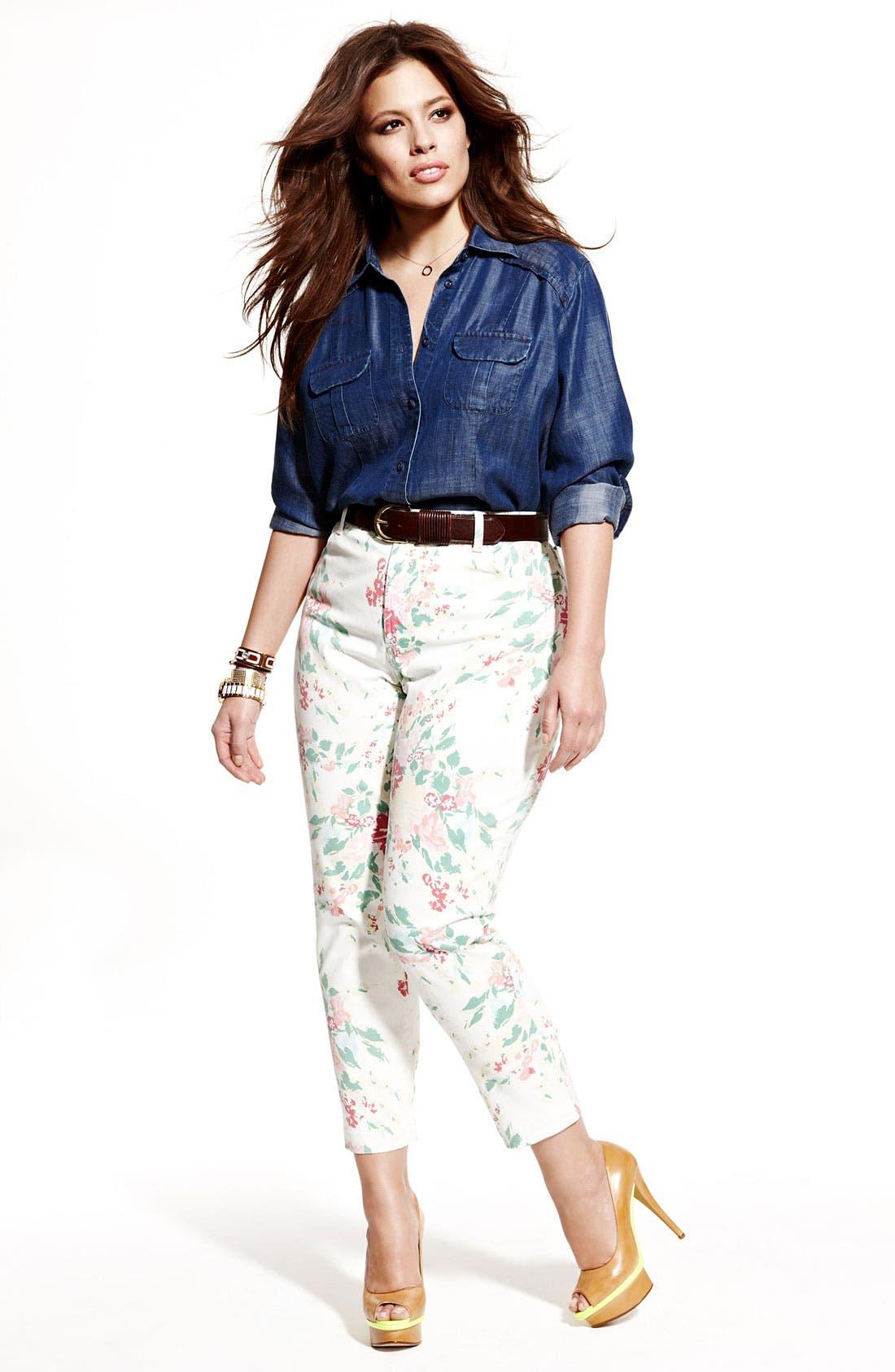 Alternate Image 4  - NYDJ 'Audrey' Floral Print Ankle Jeans (Plus)