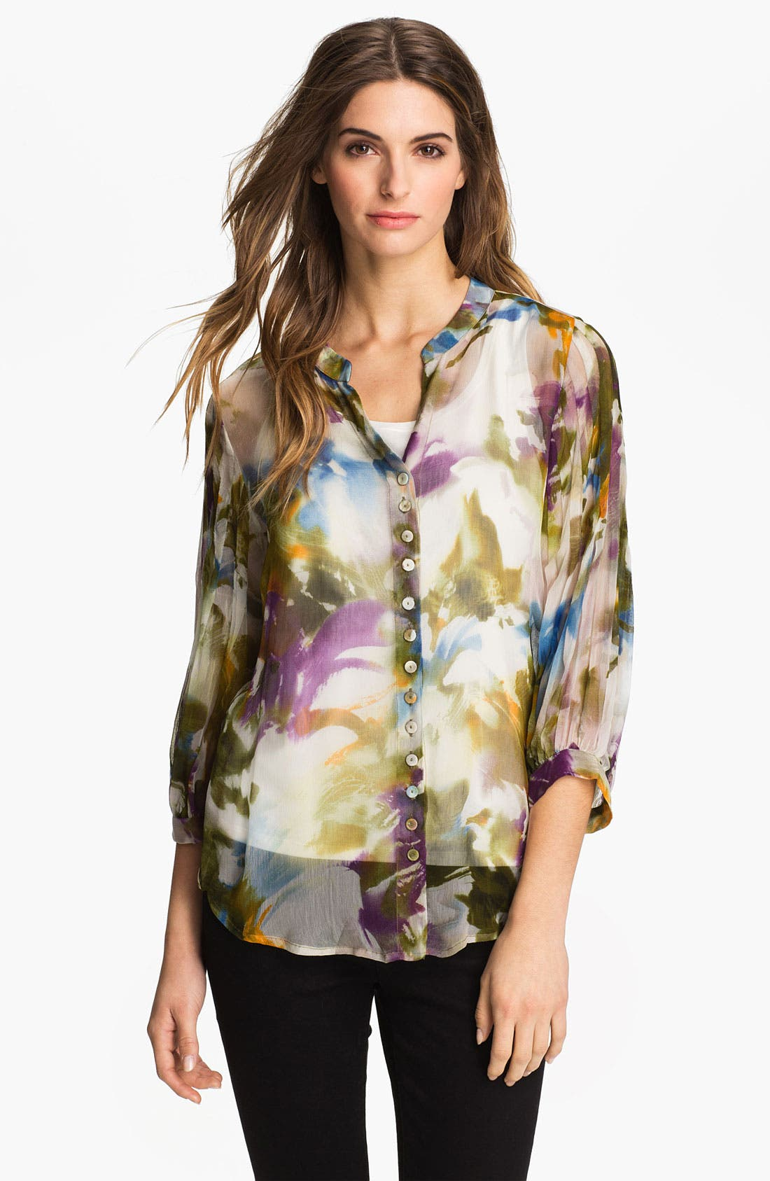 Alternate Image 1 Selected - Casual Studio Sheer V-Neck Blouse (Nordstrom Exclusive)