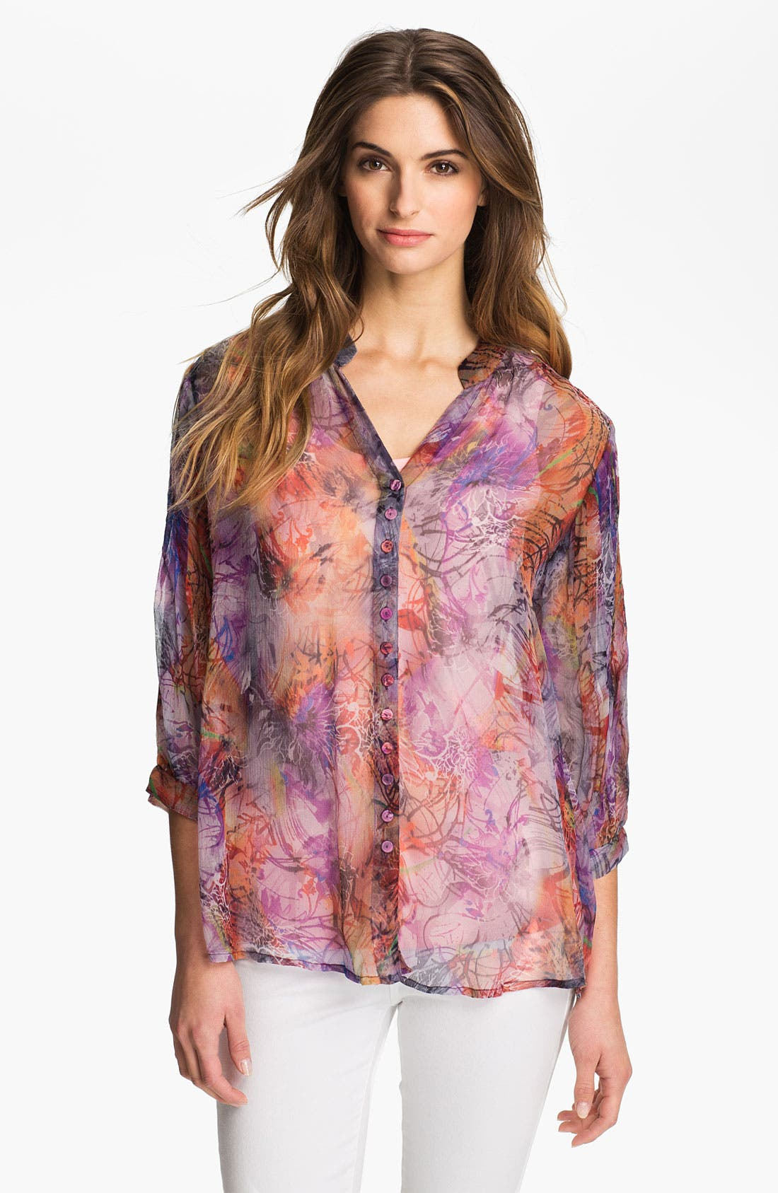 Main Image - Casual Studio Sheer V-Neck Blouse (Nordstrom Exclusive)