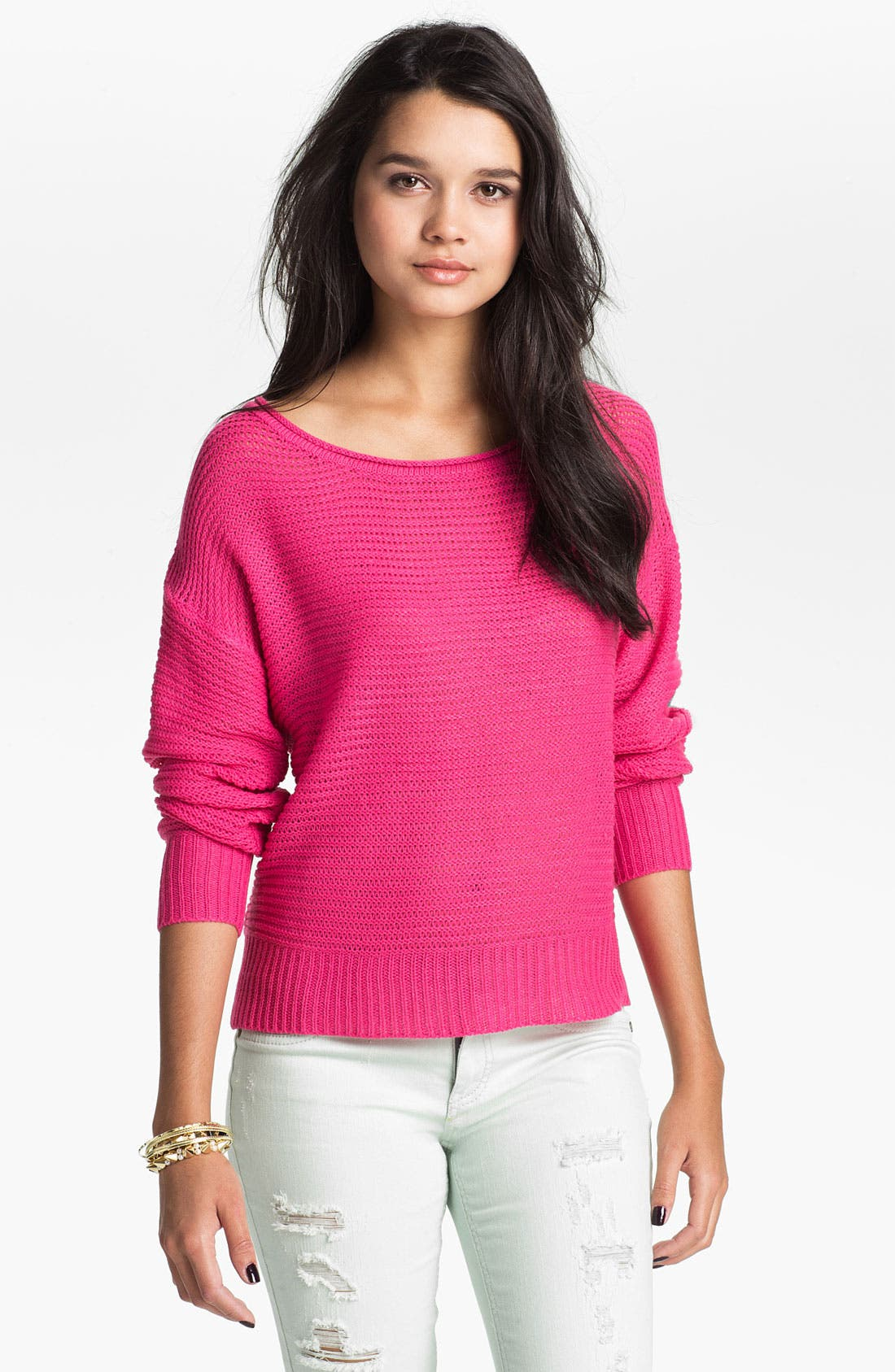 Alternate Image 2  - Absolutely Cotton Shredded Back Sweater (Juniors)