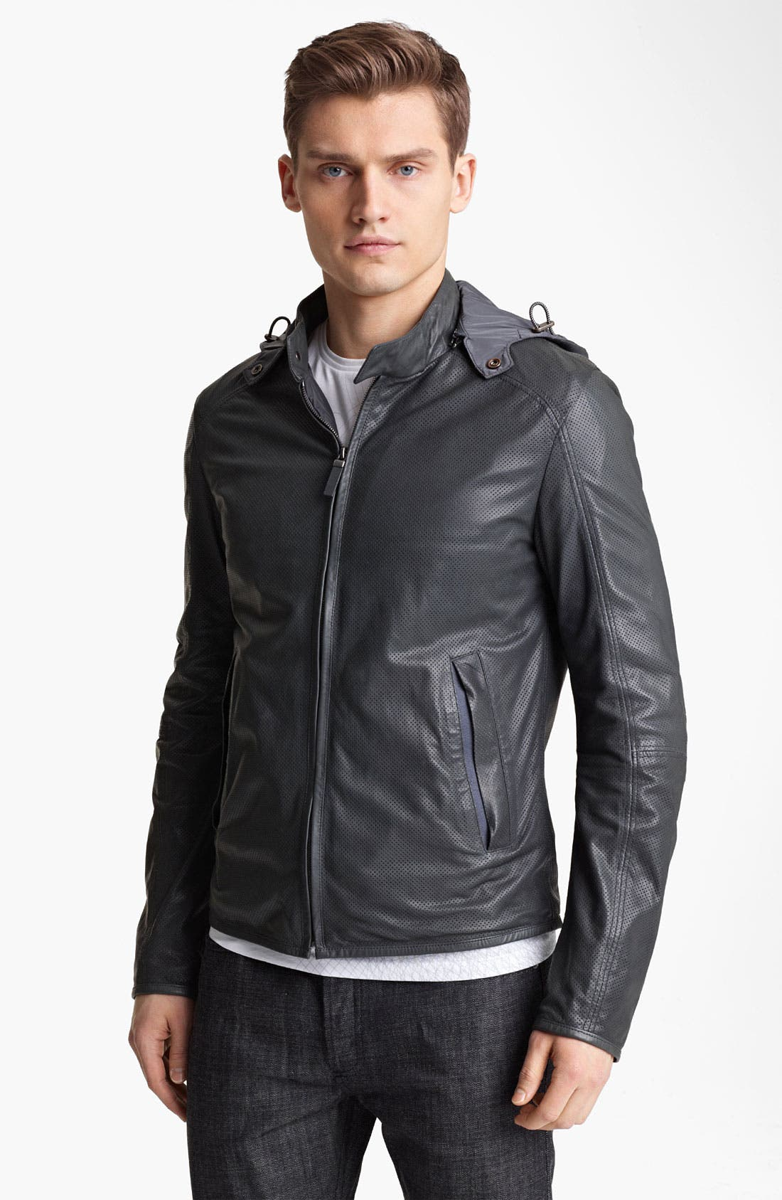 Alternate Image 1 Selected - Z Zegna Hooded Leather Jacket