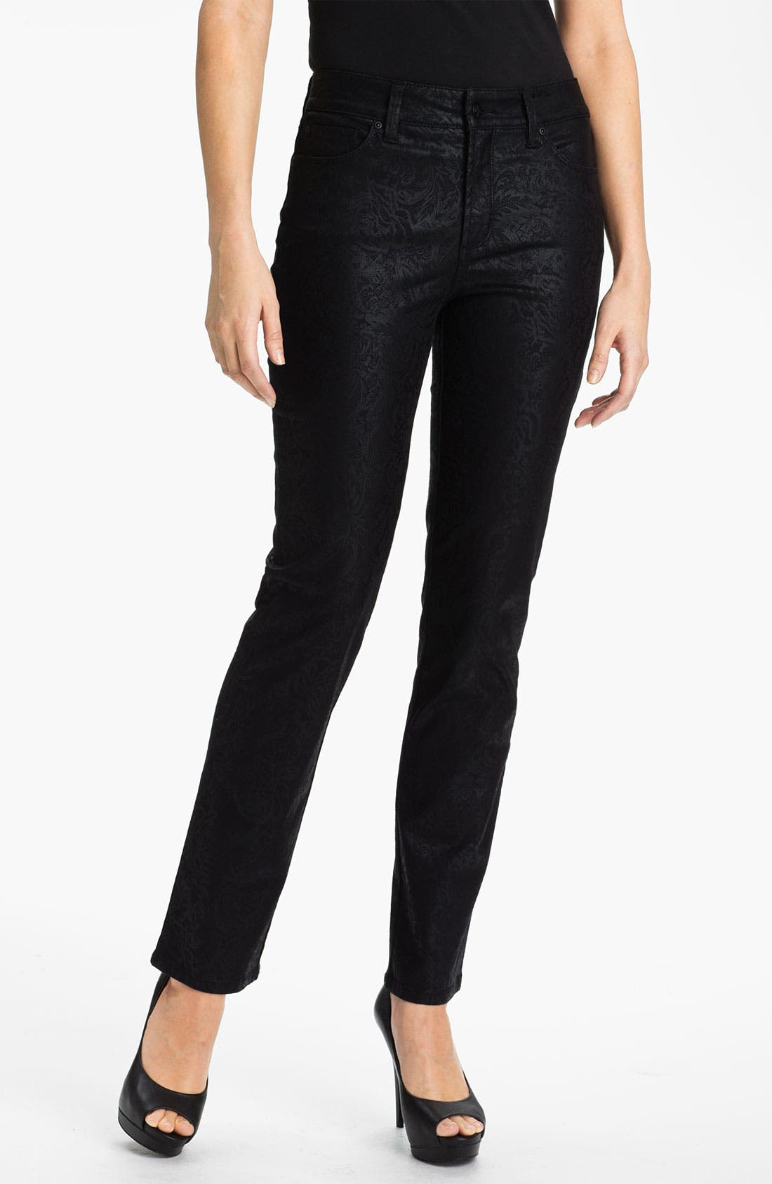 Alternate Image 1 Selected - NYDJ 'Sheri - Metallic Gilded Lily' Twill Skinny Jeans (Petite)