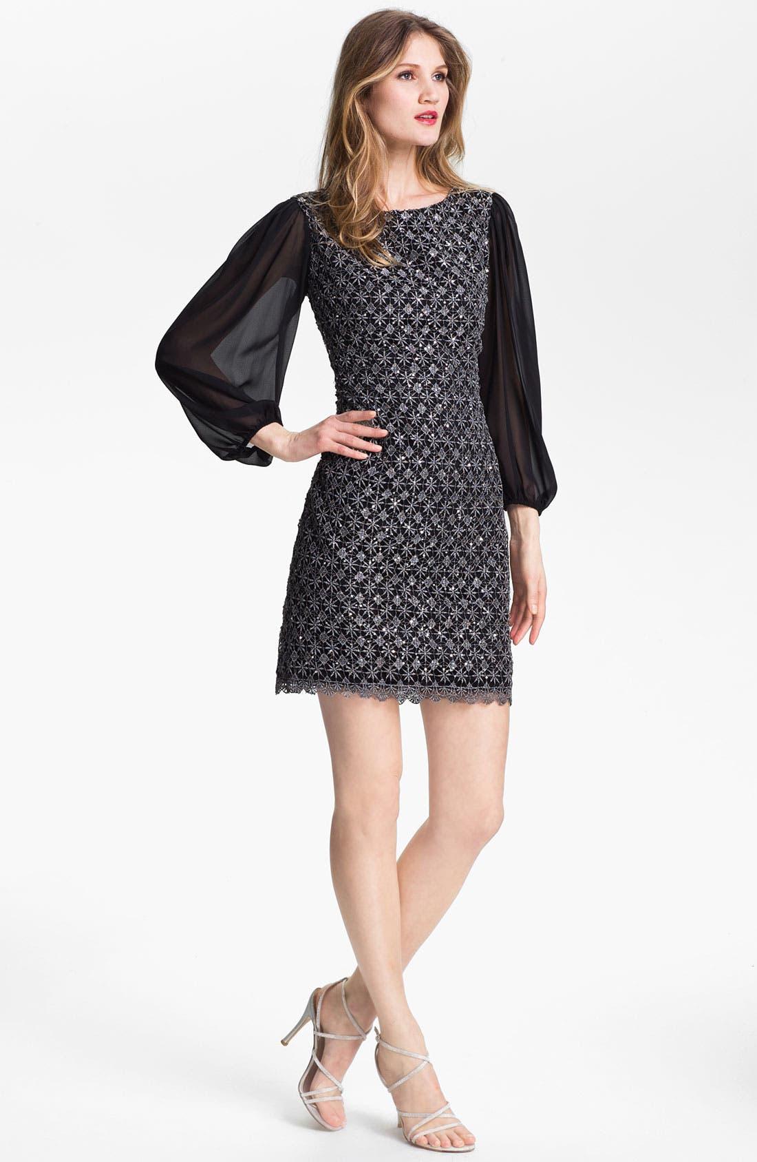 Alternate Image 1 Selected - Patra Metallic Lace Sheath Dress (Petite)