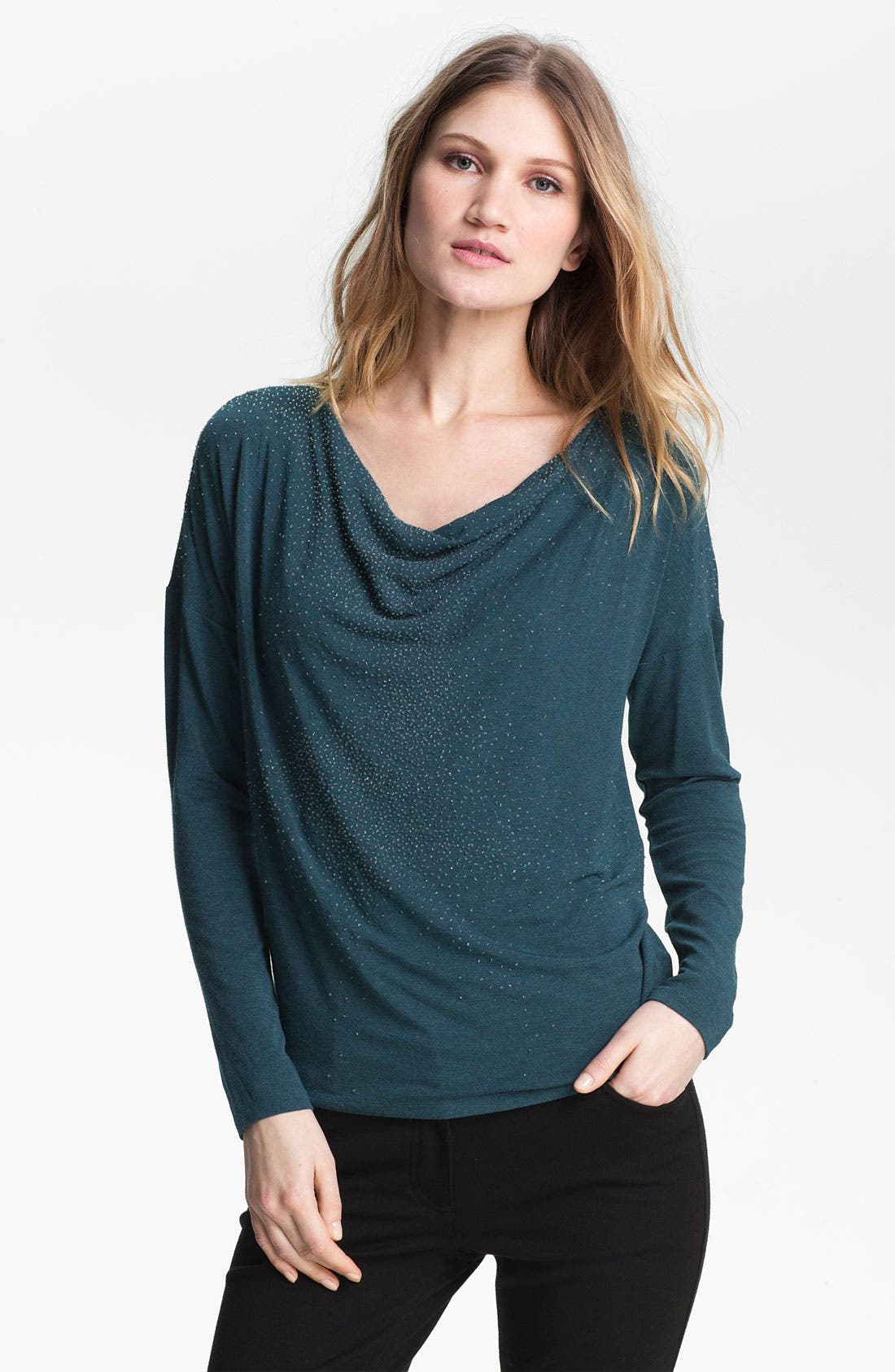 Main Image - Eileen Fisher Beaded Drape Neck Top